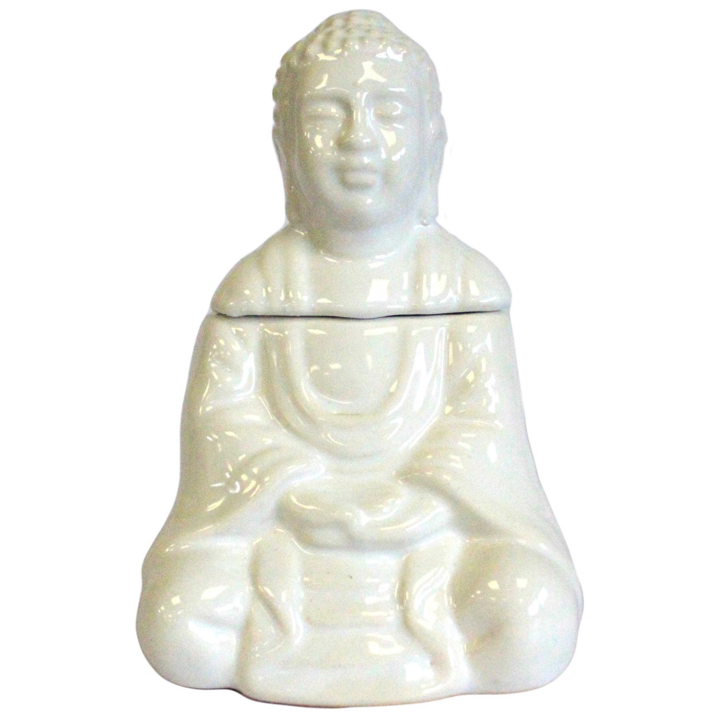 Sitting Buddha Oil Burner White