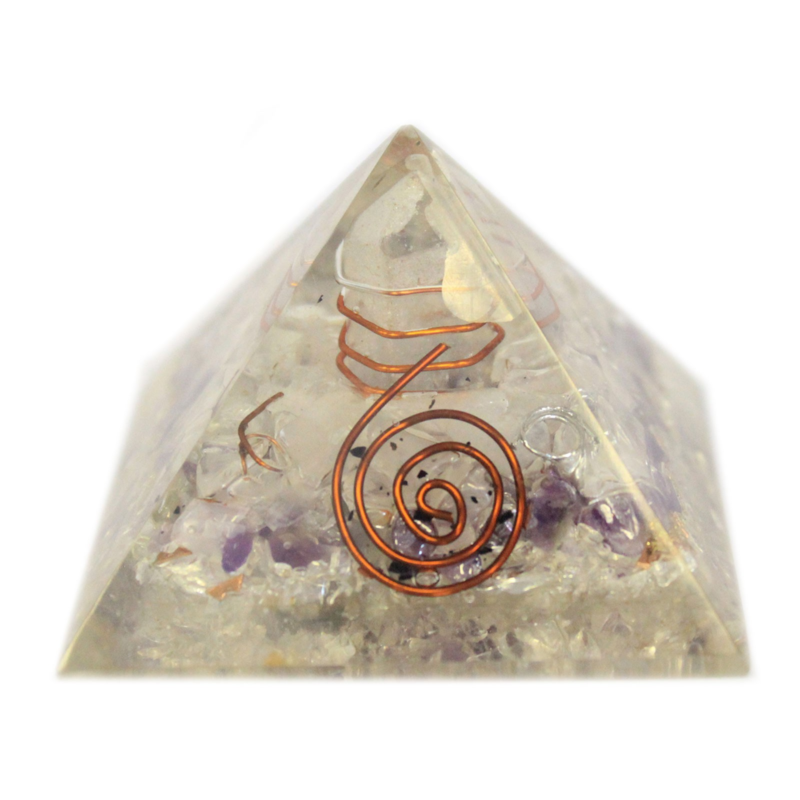 Med Orgonite Pyramid 55mm Gemchips and Copper