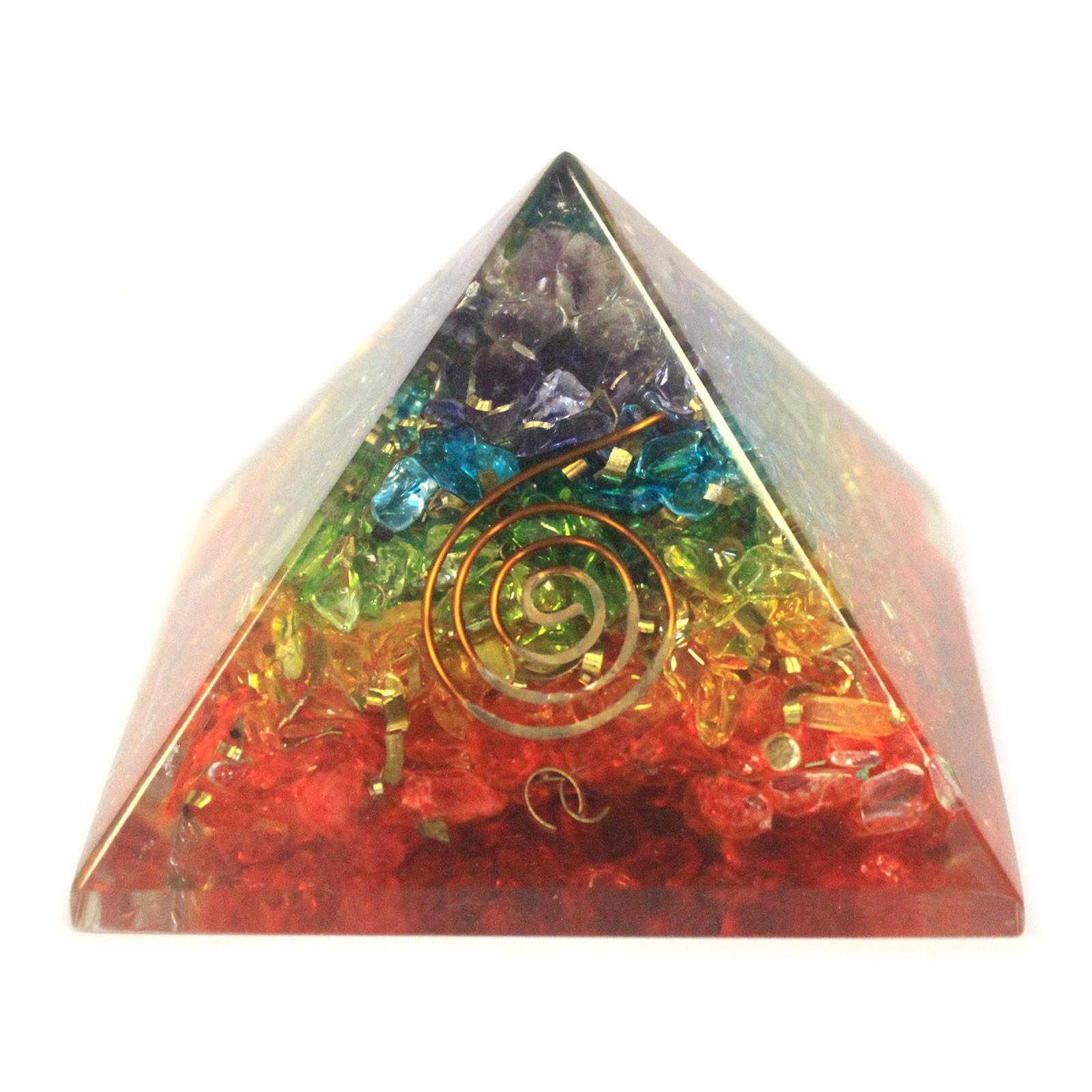 Lrg Orgonite Pyramid 70mm Chakra Gemchips