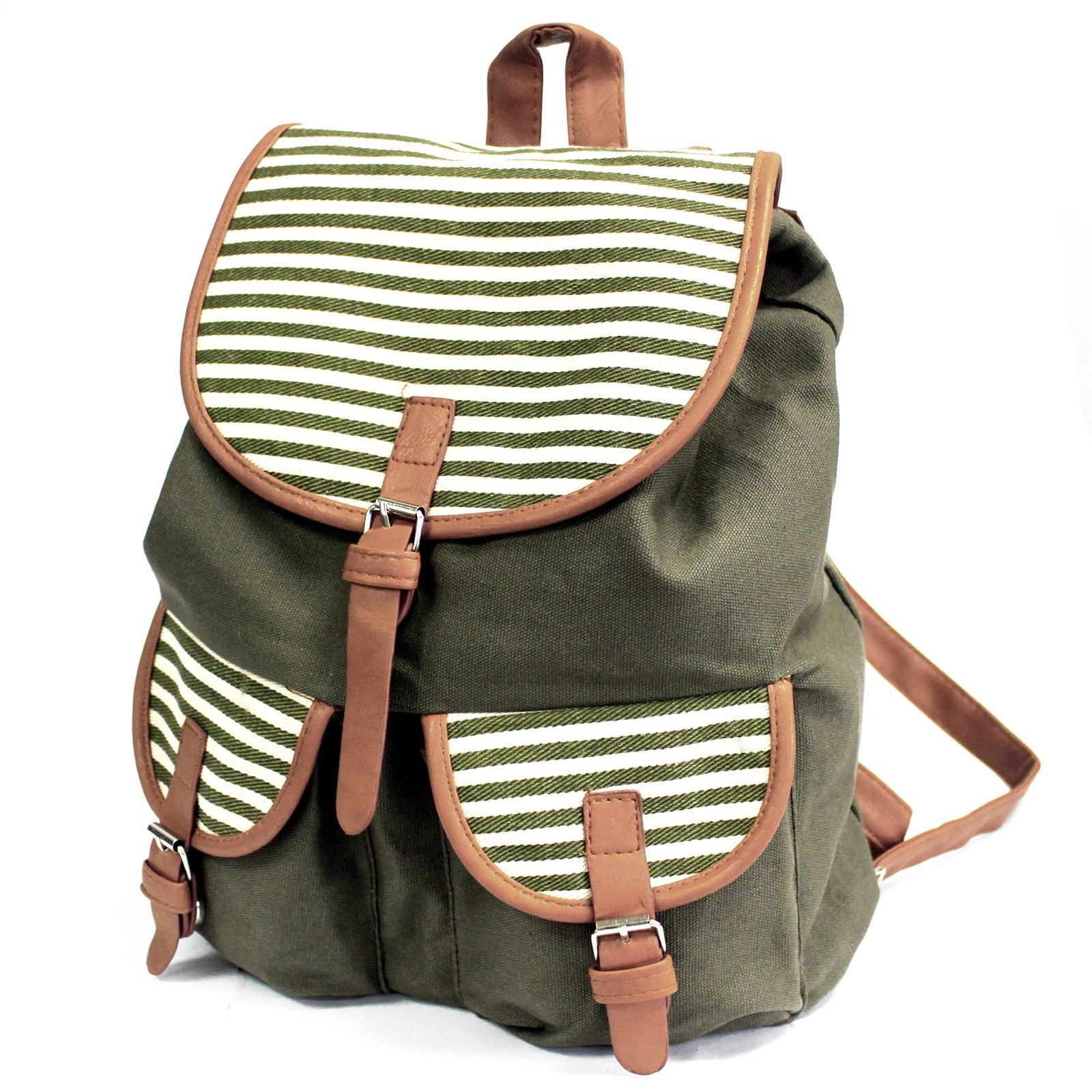 Traveller Backpacks 2 Pocket Olive Stripe
