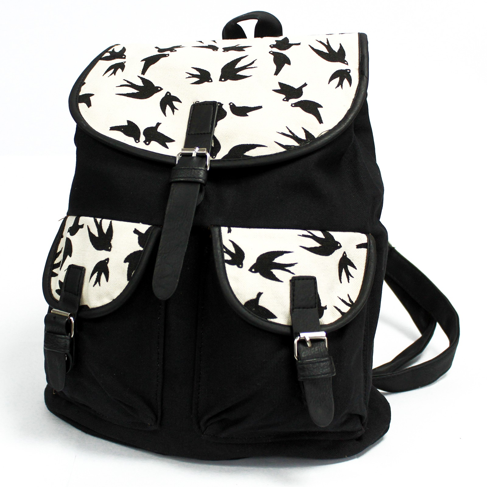 Traveller Backpacks  2 Pocket Black Swallows