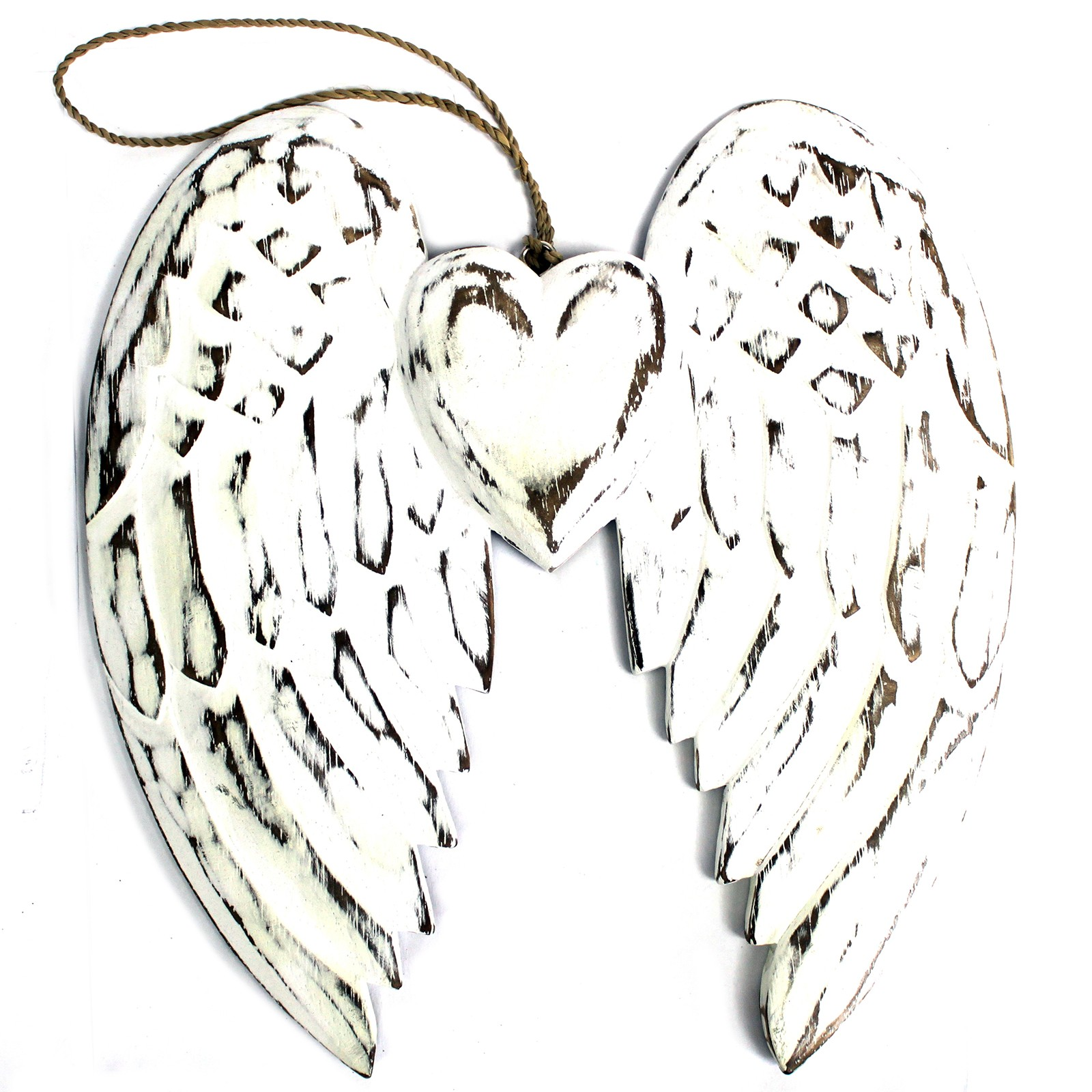 Hand Crafted Double Angel Wing   Heart 24cm
