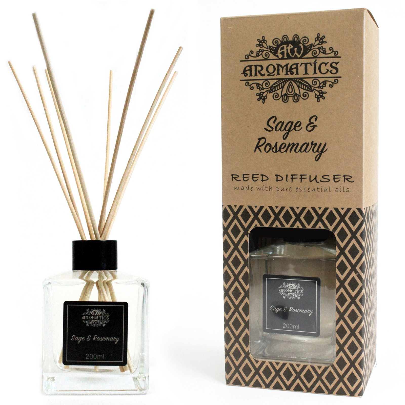 200ml Sage   Rosemary Essential Oil Reed Diffuser