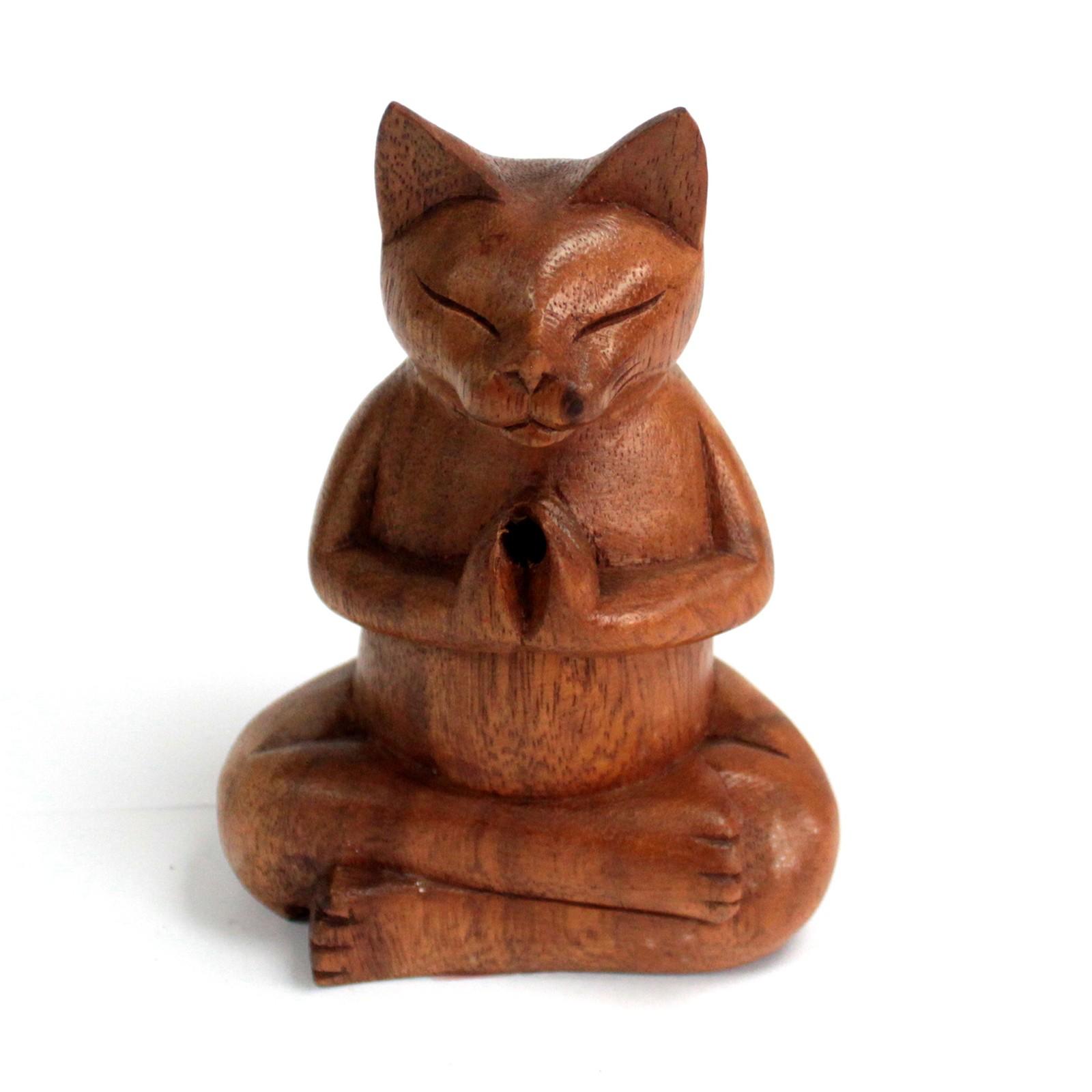 Wooden Carved Incense Burners Med Yoga Cat