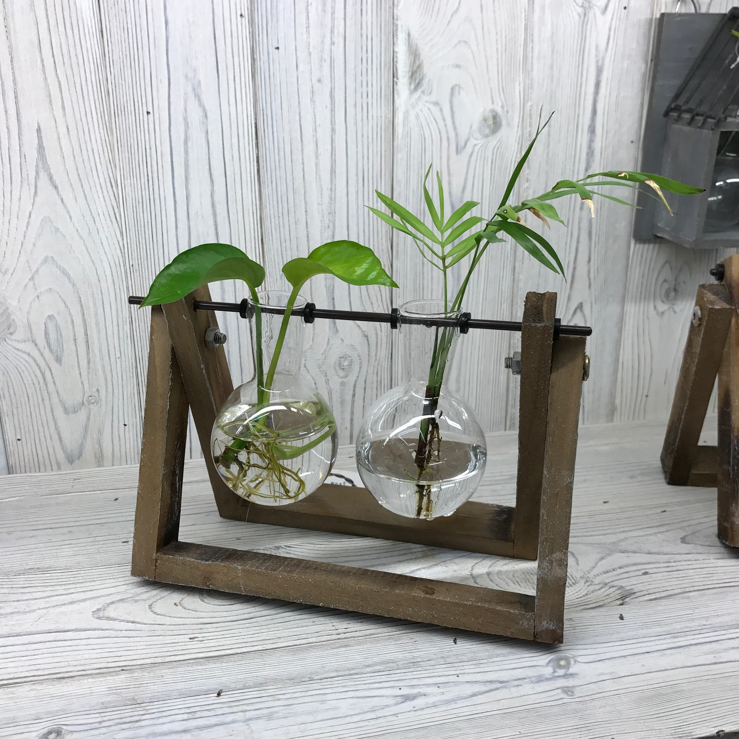 Hydroponic Home Décor Two Pot Wooden Stand