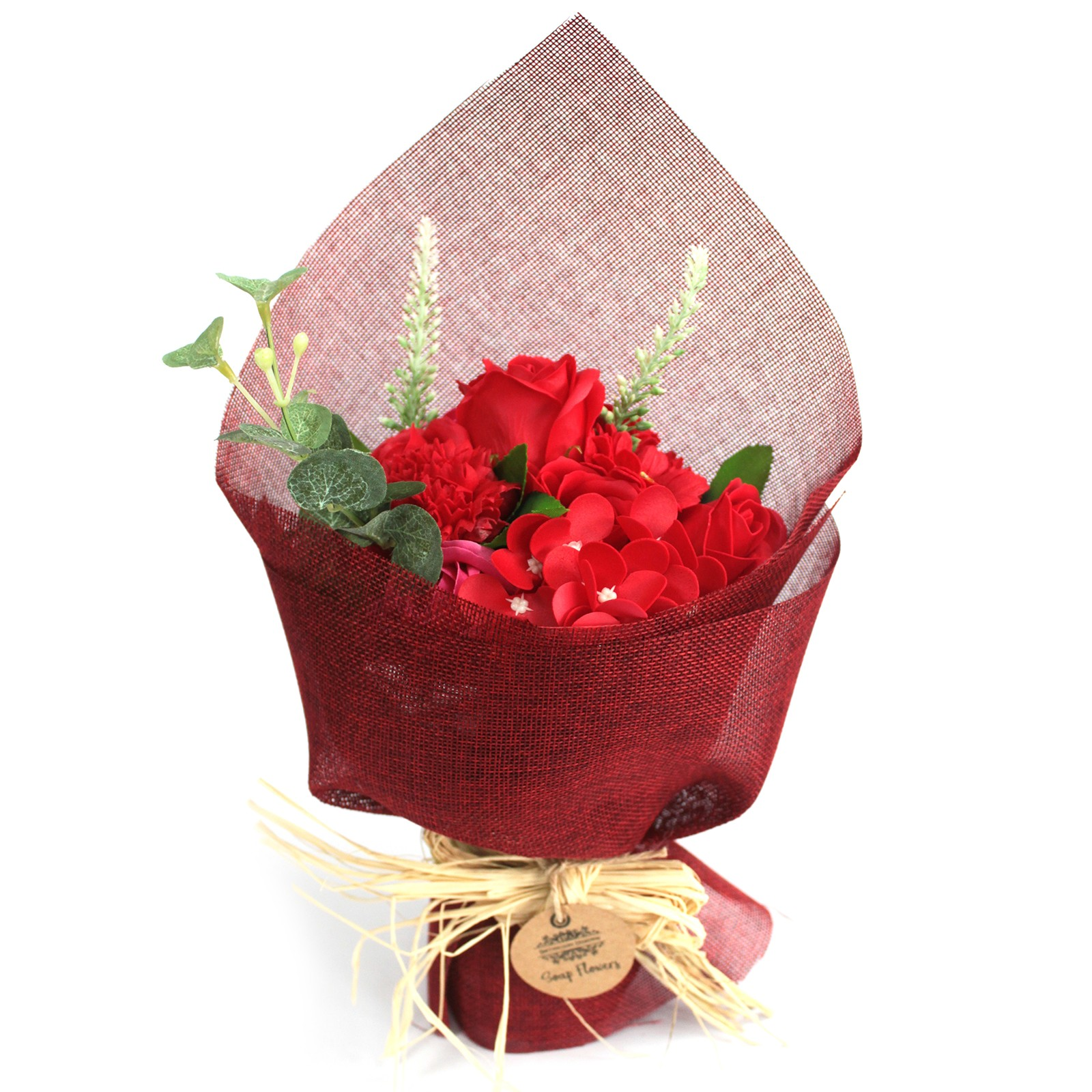 Standing Soap Flower Bouquet Red