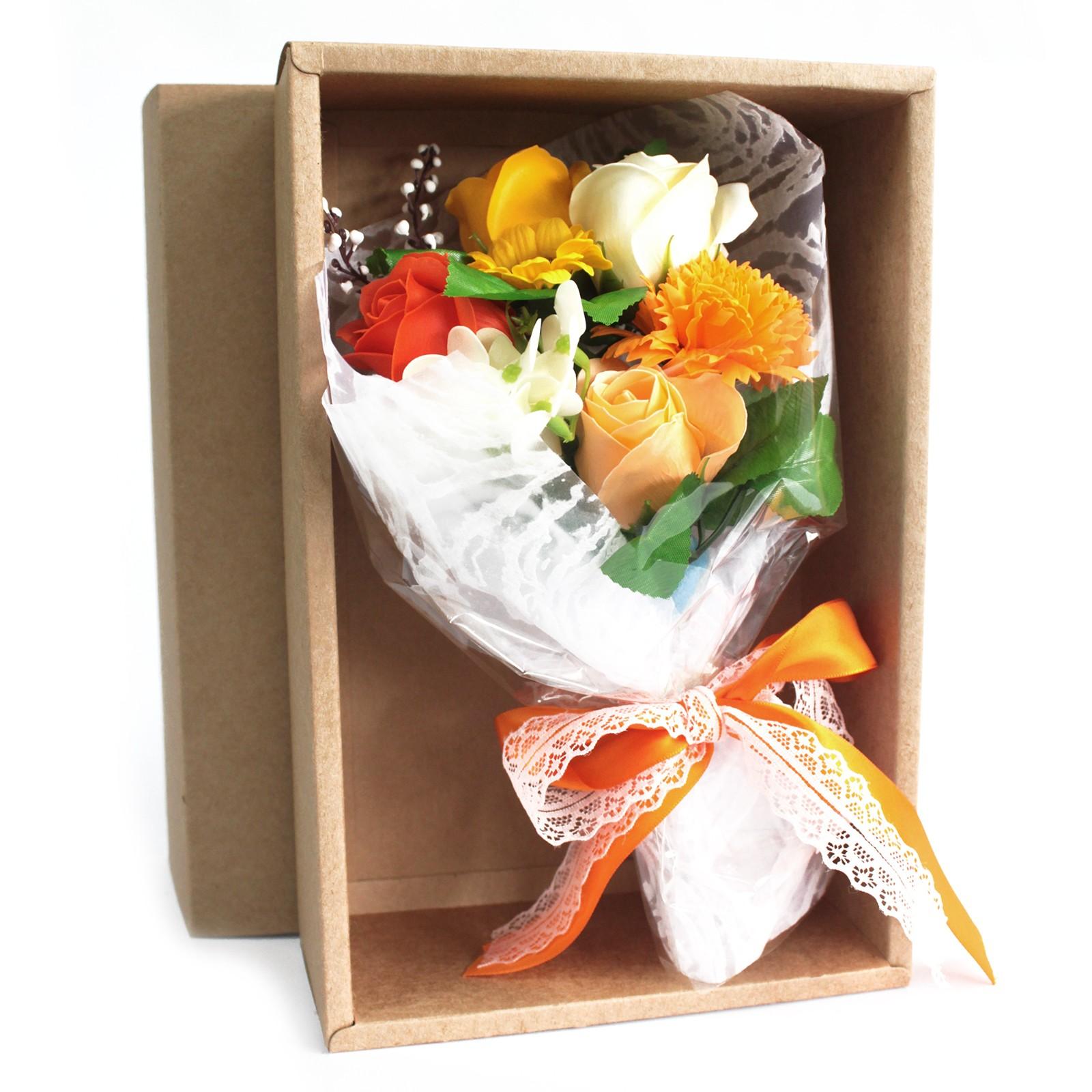 Boxed Hand Soap Flower Bouquet Orange