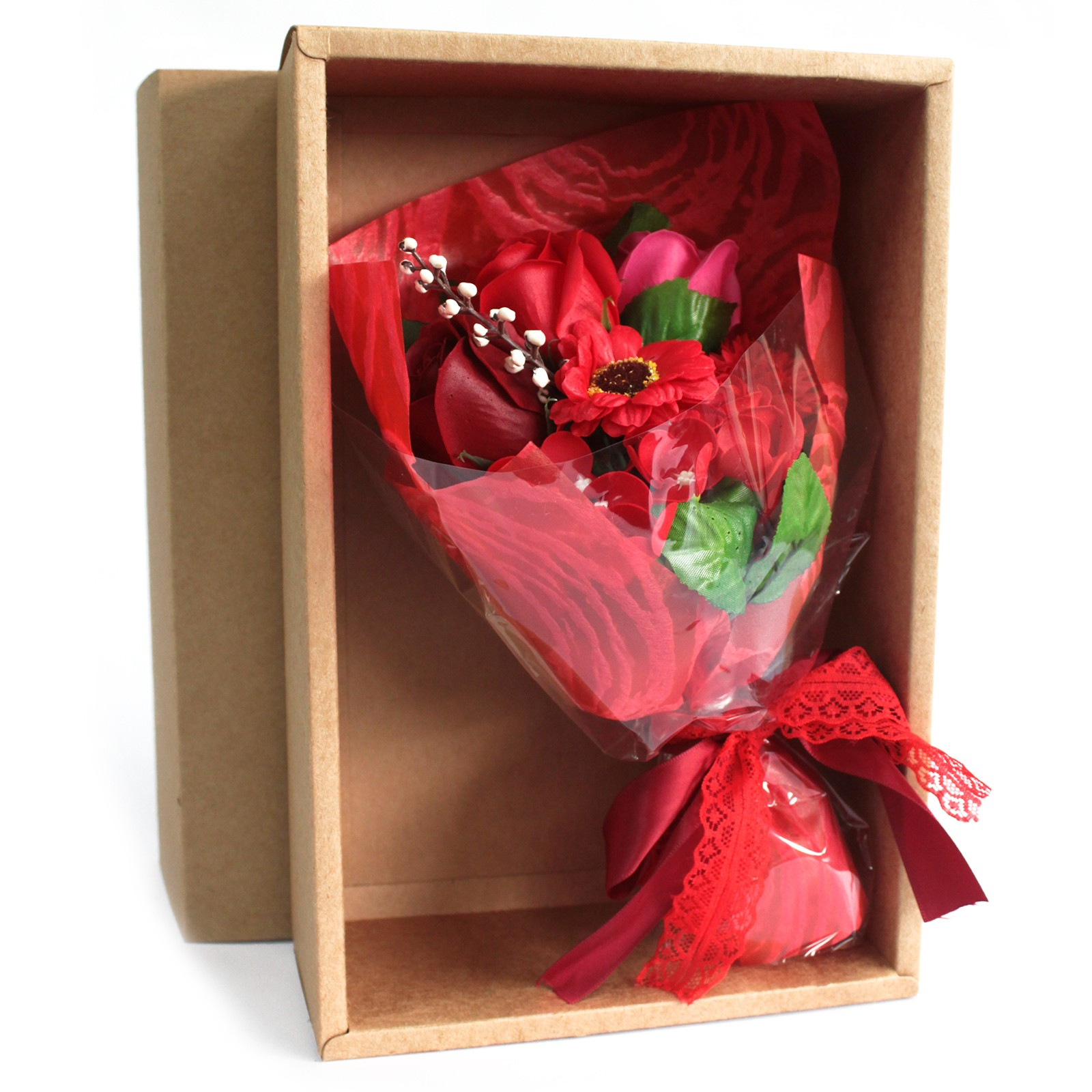 Boxed Hand Soap Flower BouquetRed