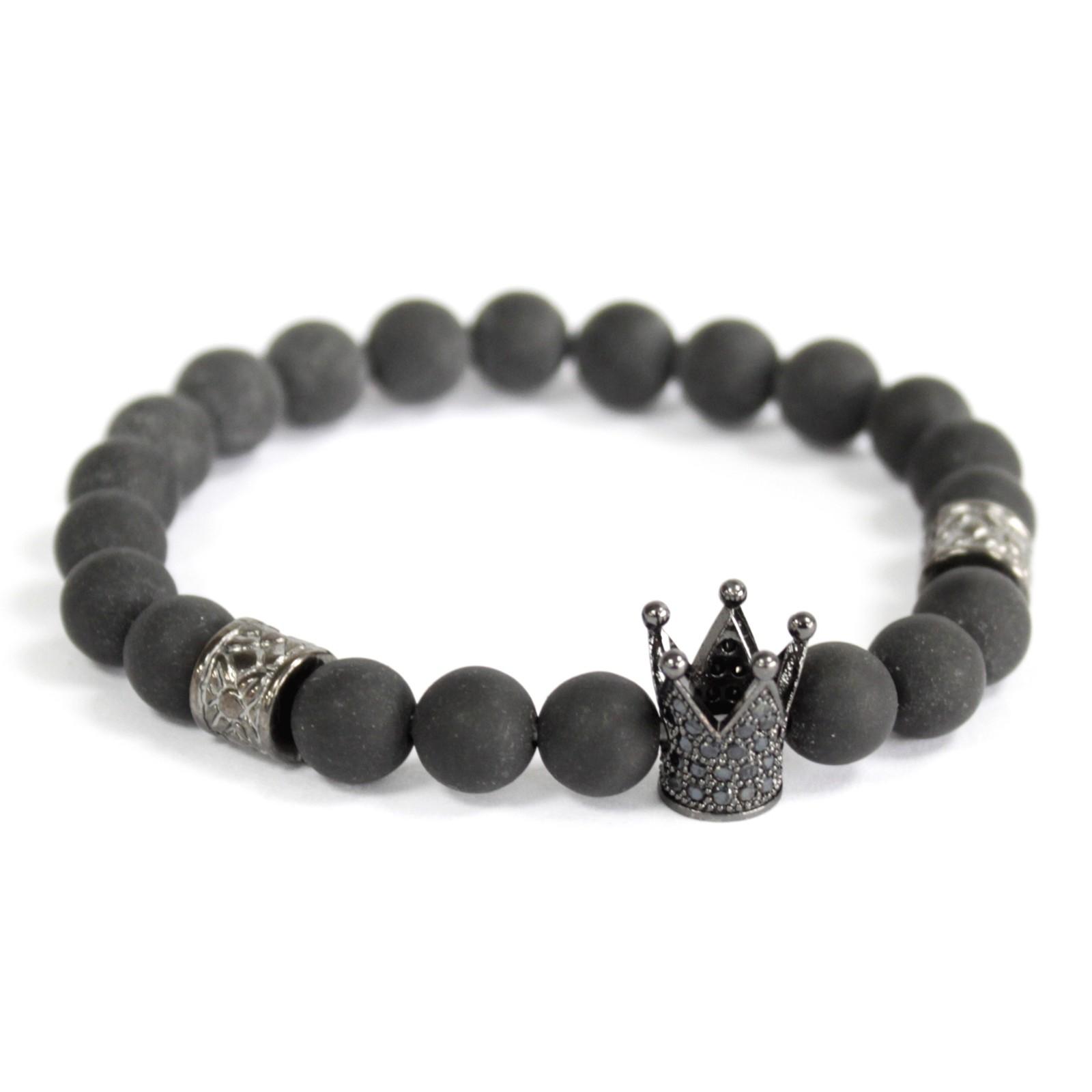 Crystal Crown  Black Agate  Gemstone Bracelet