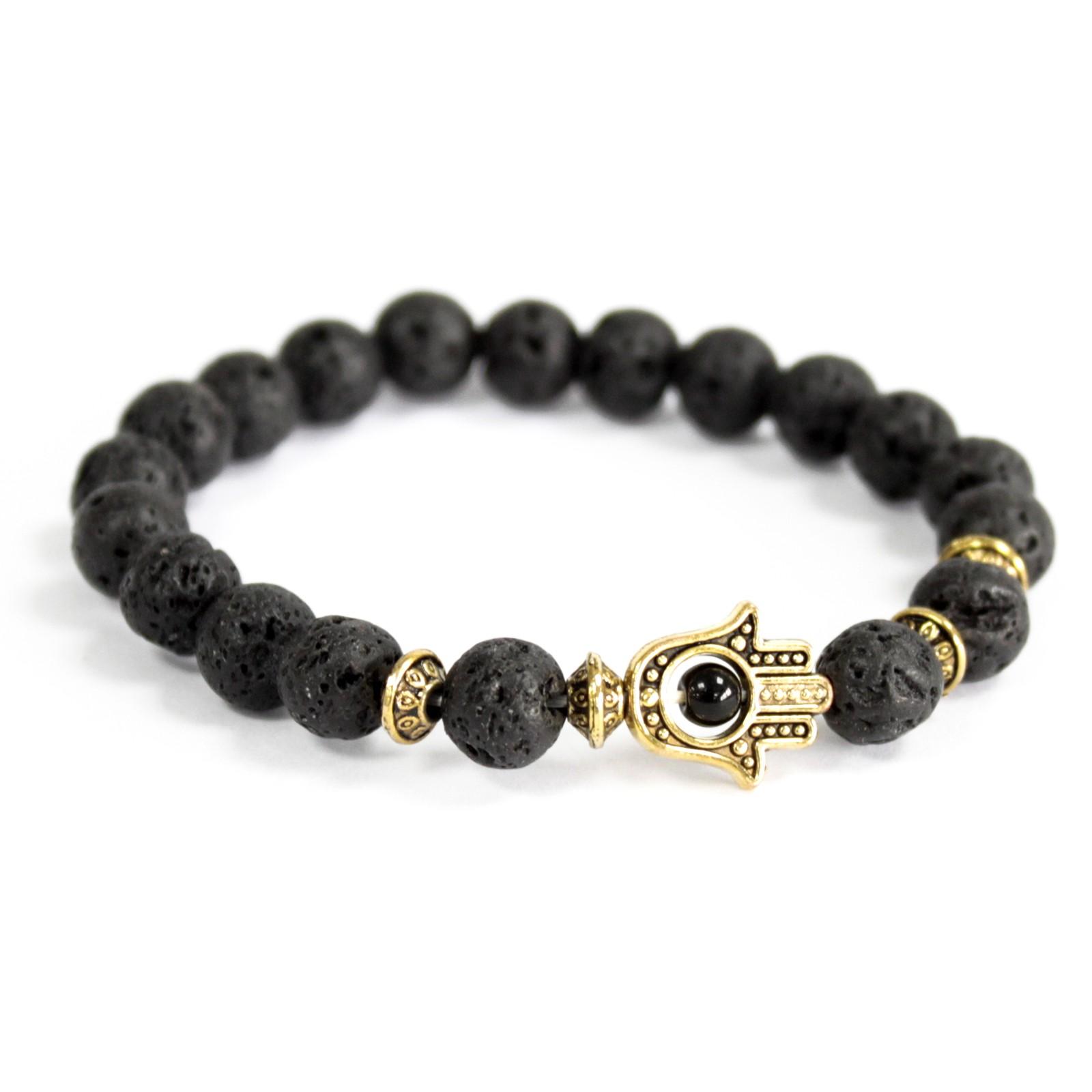 Gold Hamsa  Lava Stone Gemstone Bracelet