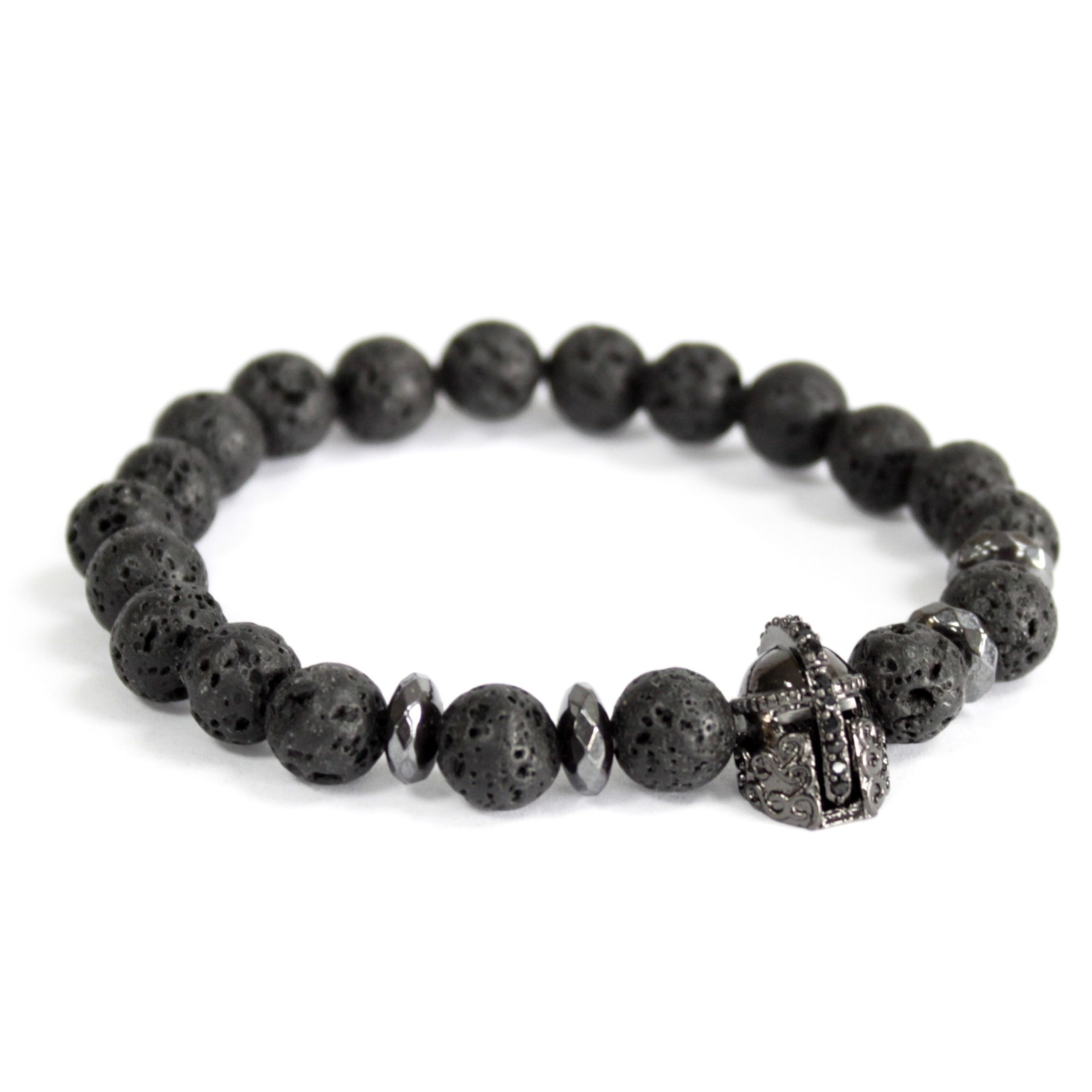 Knights Helmet  Lava Stone Gemstone Bracelet