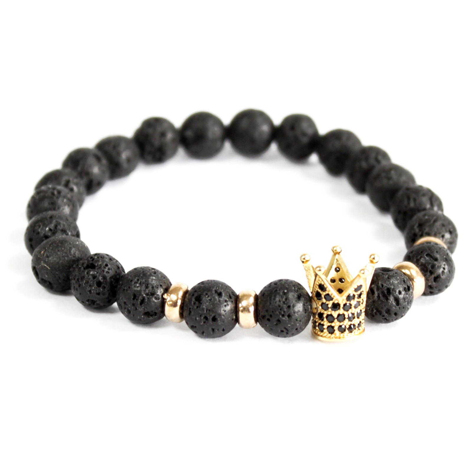 Gold Crown  Lava Stone Gemstone Bracelet