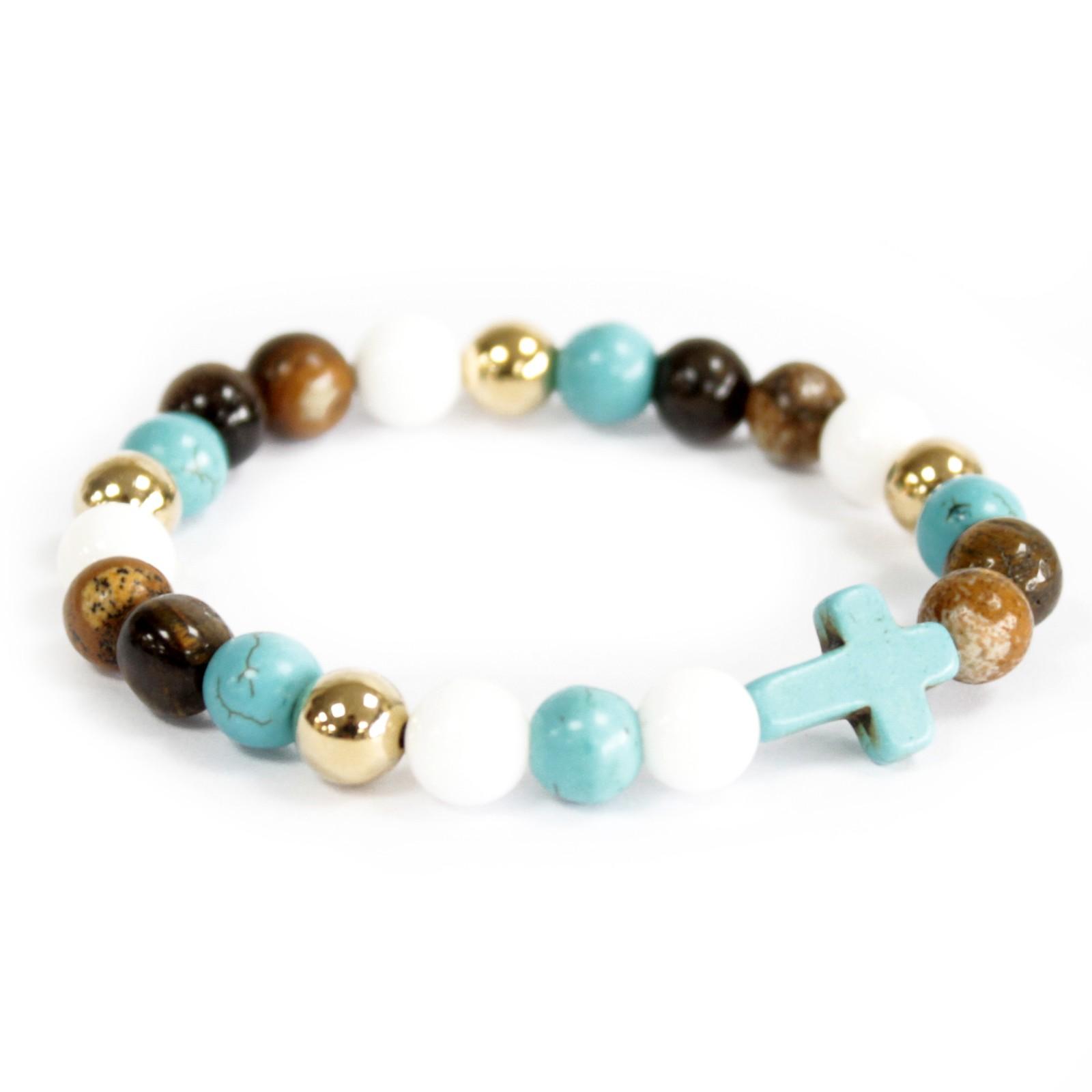 Turquoise Cross  Royal Beads Gemstone Bracelet