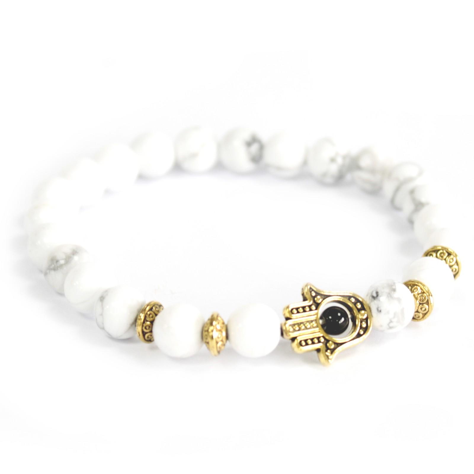 Gold Hamsa  White Stone Gemstone Bracelet