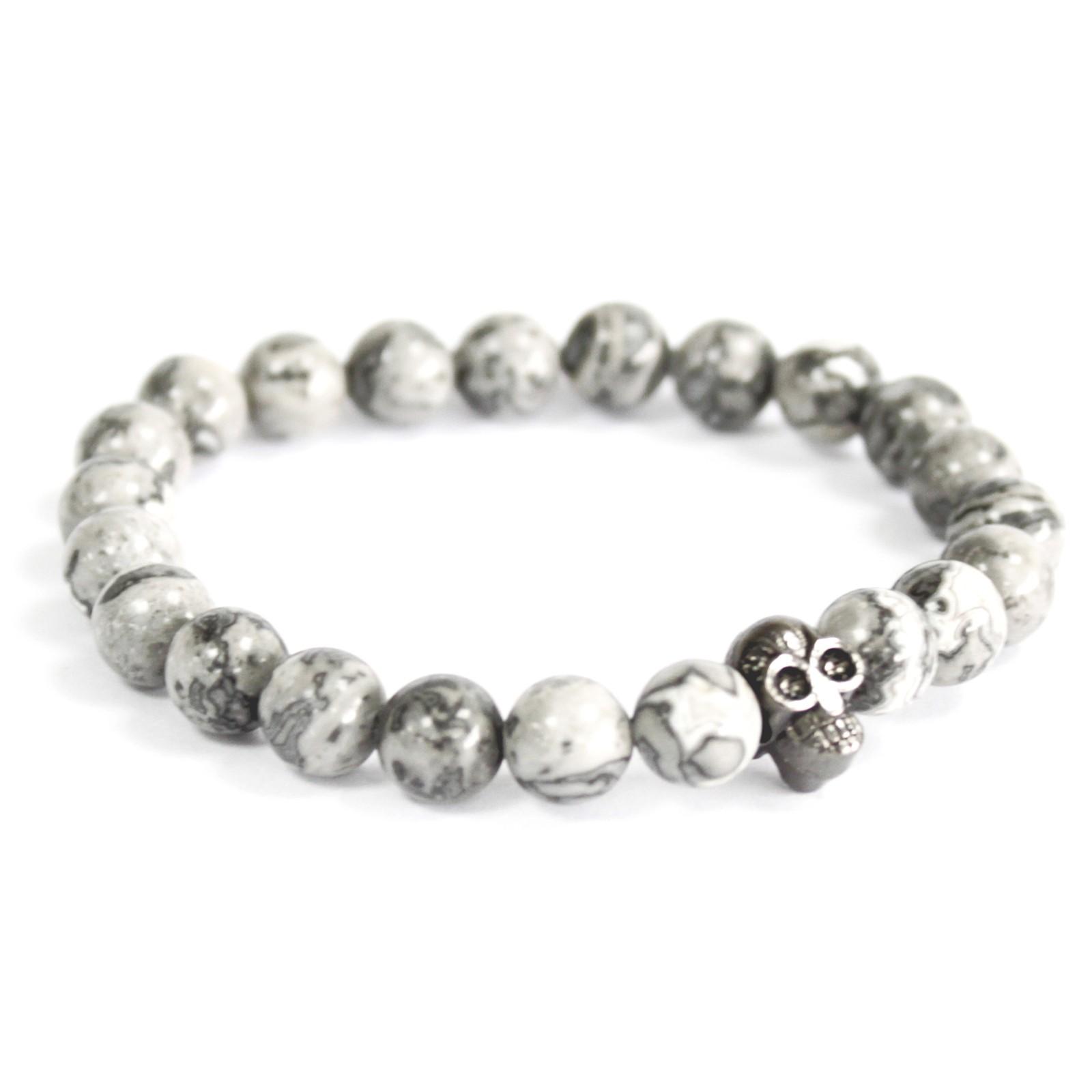 Pewter Skull  Grey Agate Gemstone Bracelet