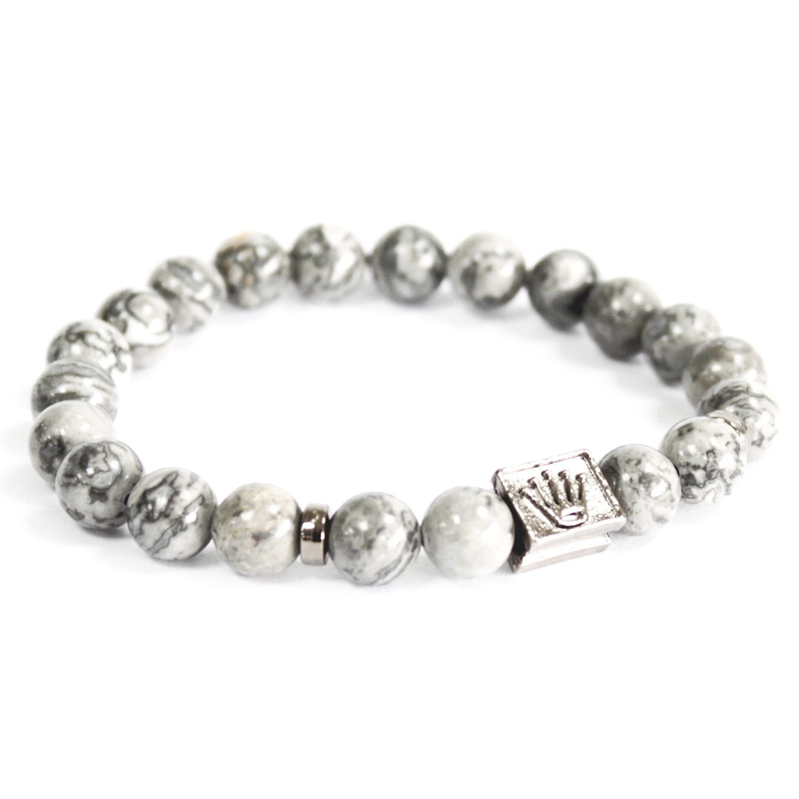 Crown Ingot  Grey Agate Gemstone Bracelet