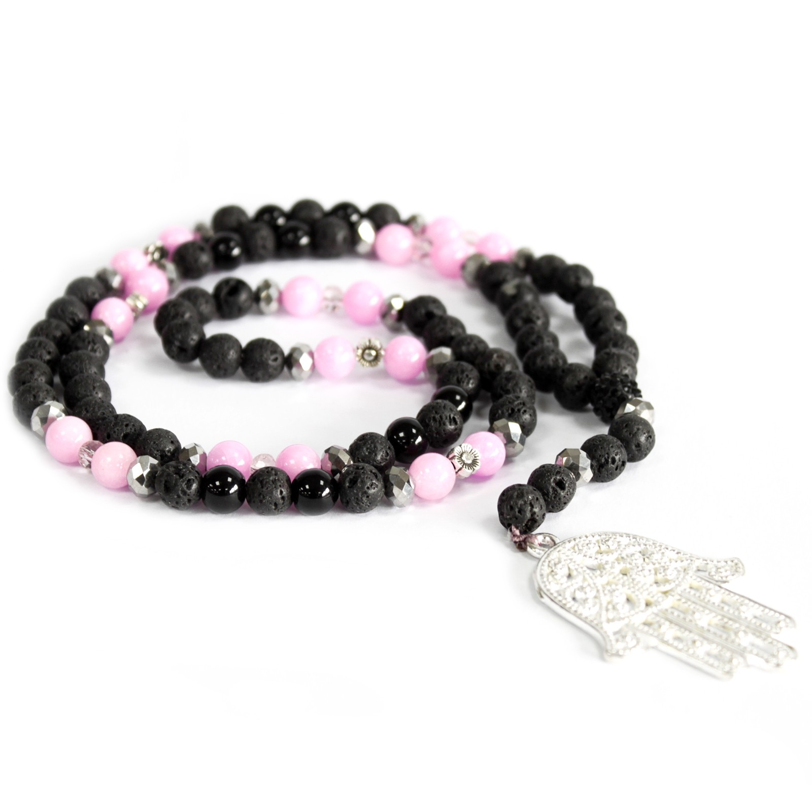 Hamsa  Pink   Black Gemstone Necklace