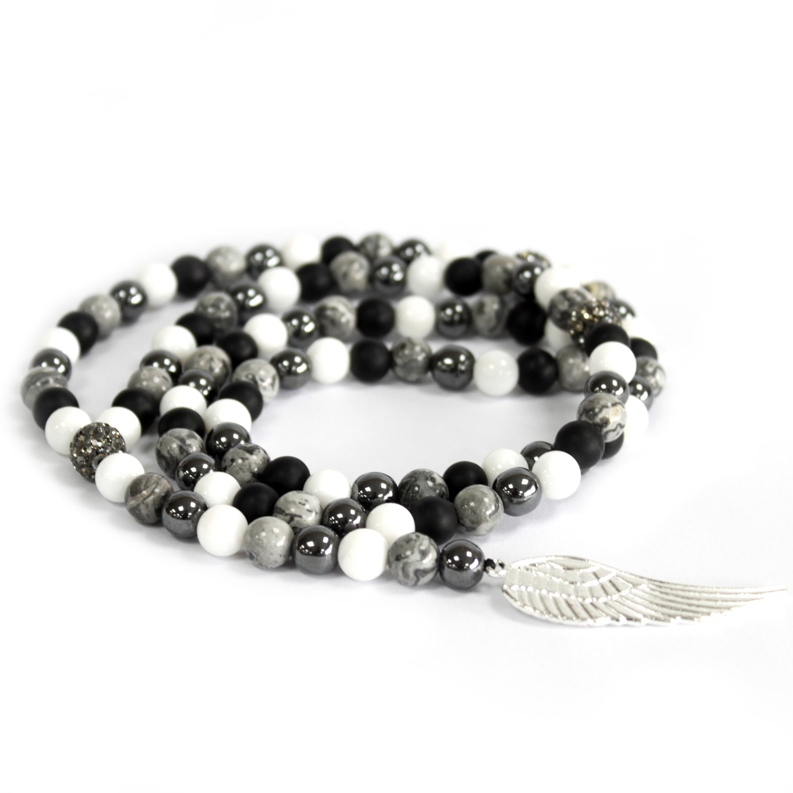 Angel Wing  Grey Agate Gemstone Necklace