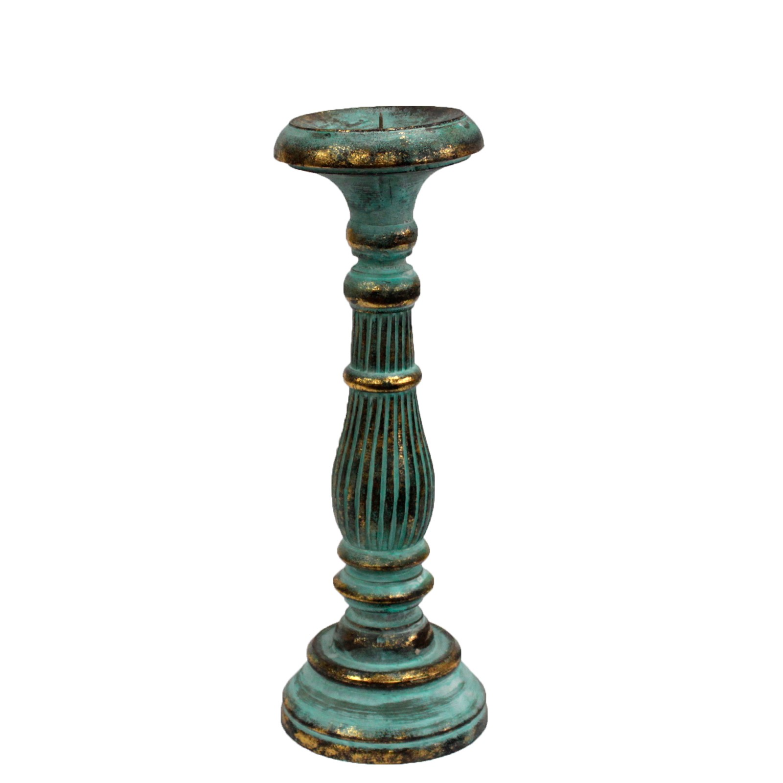 Medium Candle Stand Turquois Gold