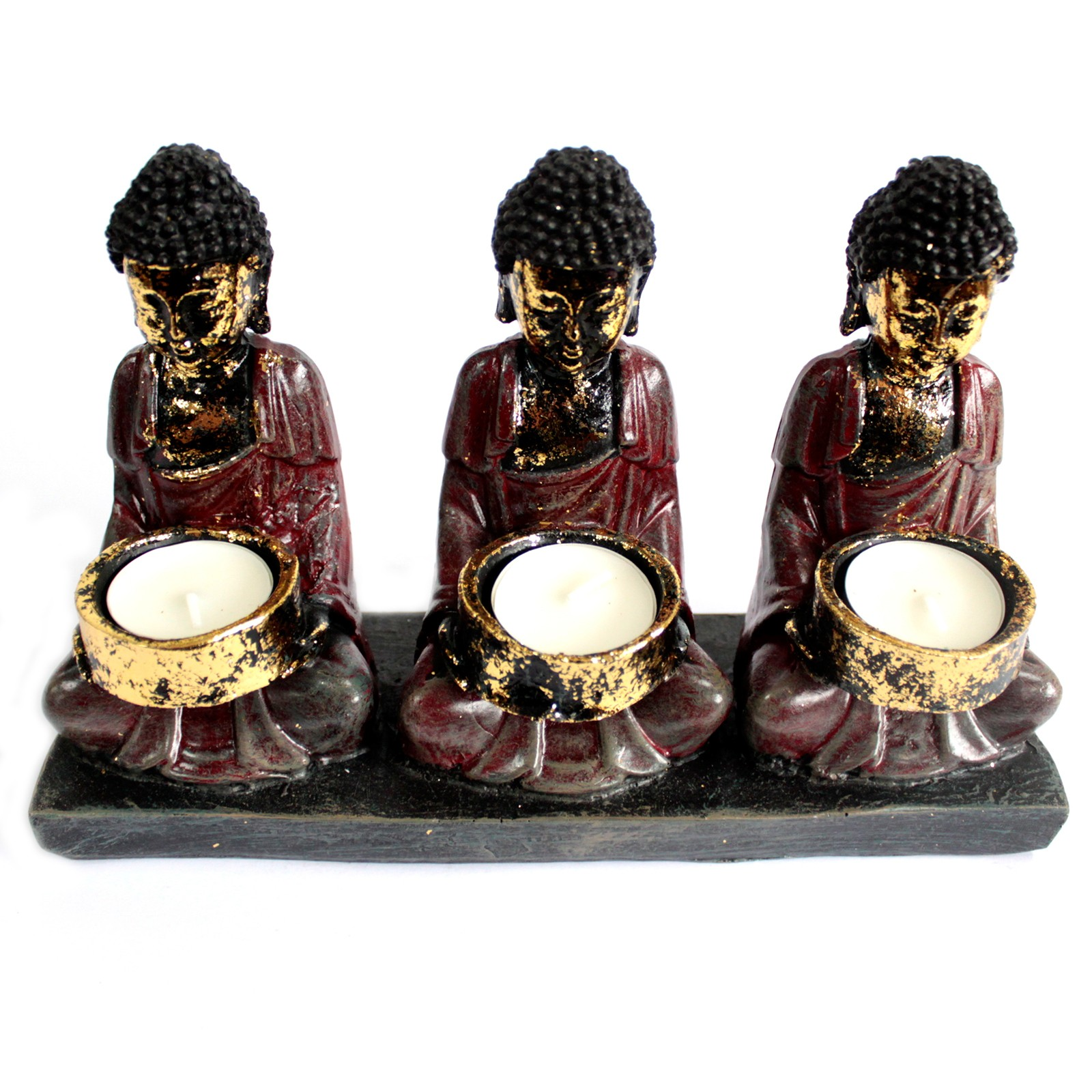Antique Buddha Three Devotees Candle Holder
