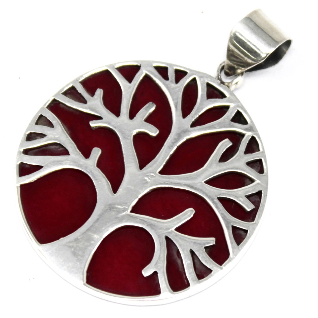 Tree of Life Silver Pendant 30mm Coral Effect