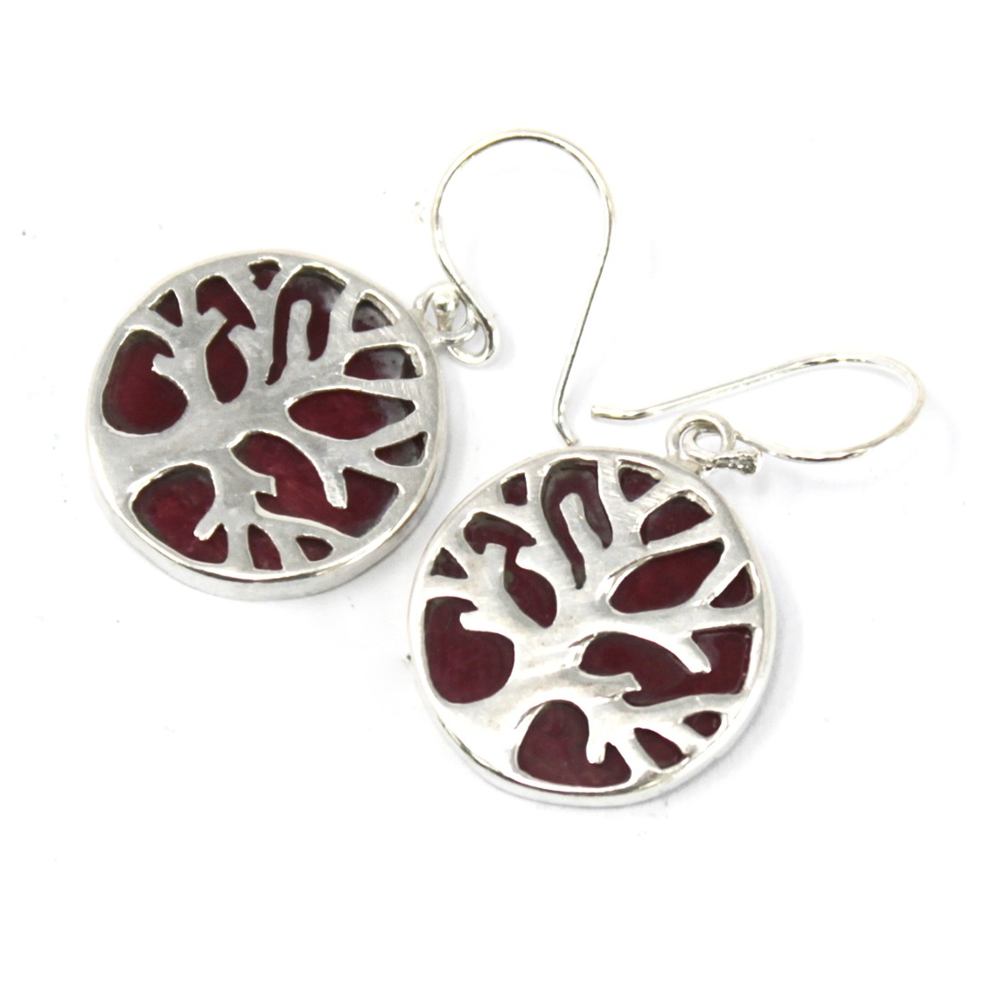 Tree of Life Silver Earrings 15mm Coral Effect