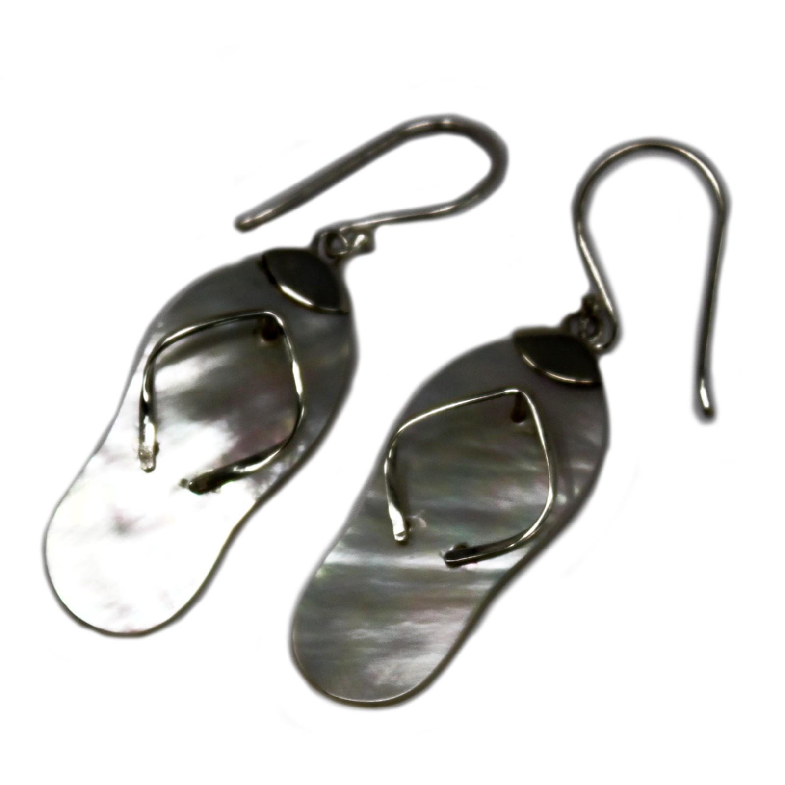 Shell   Silver Earrings FlipflopsMOP