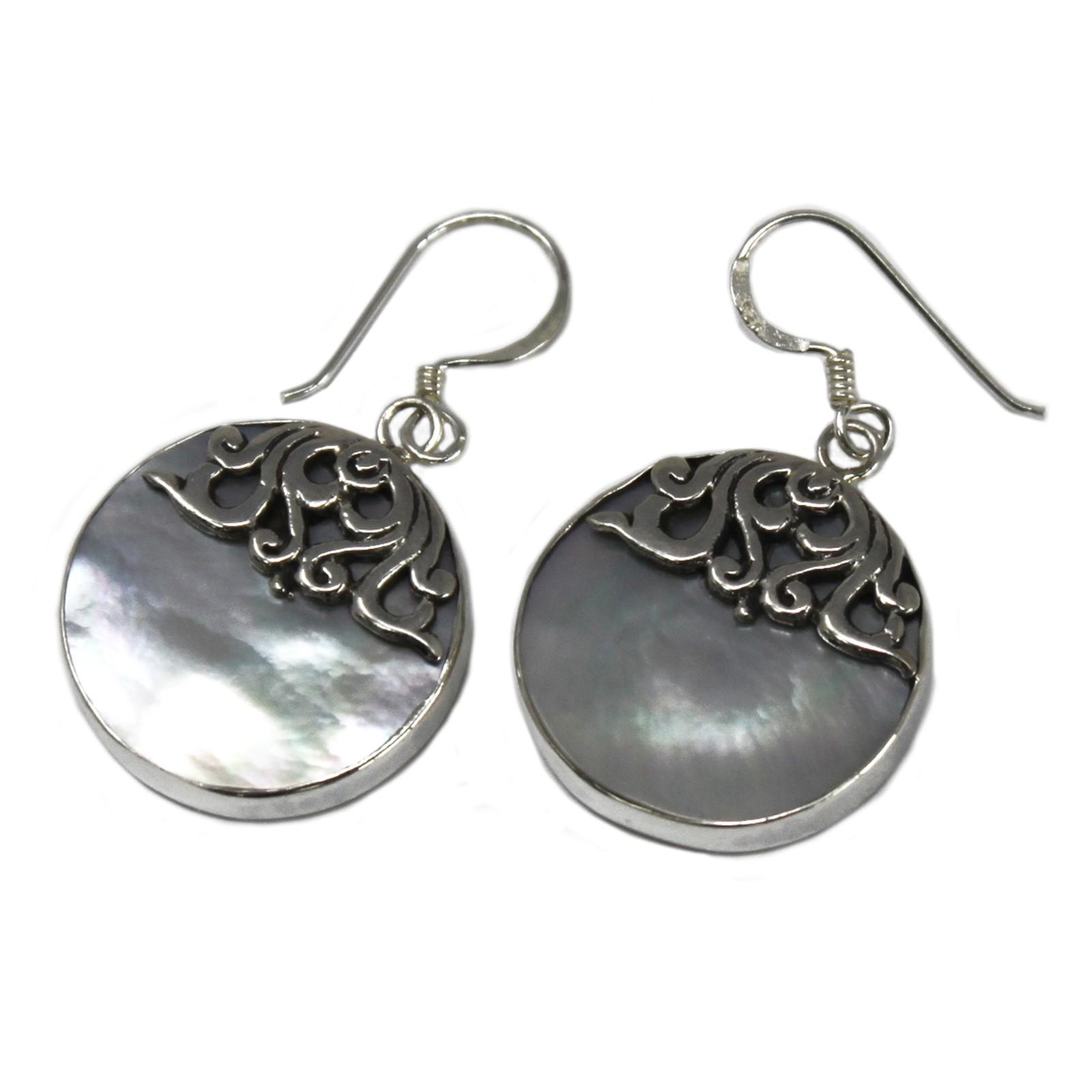 Shell   Silver Earrings Classic Disc MOP