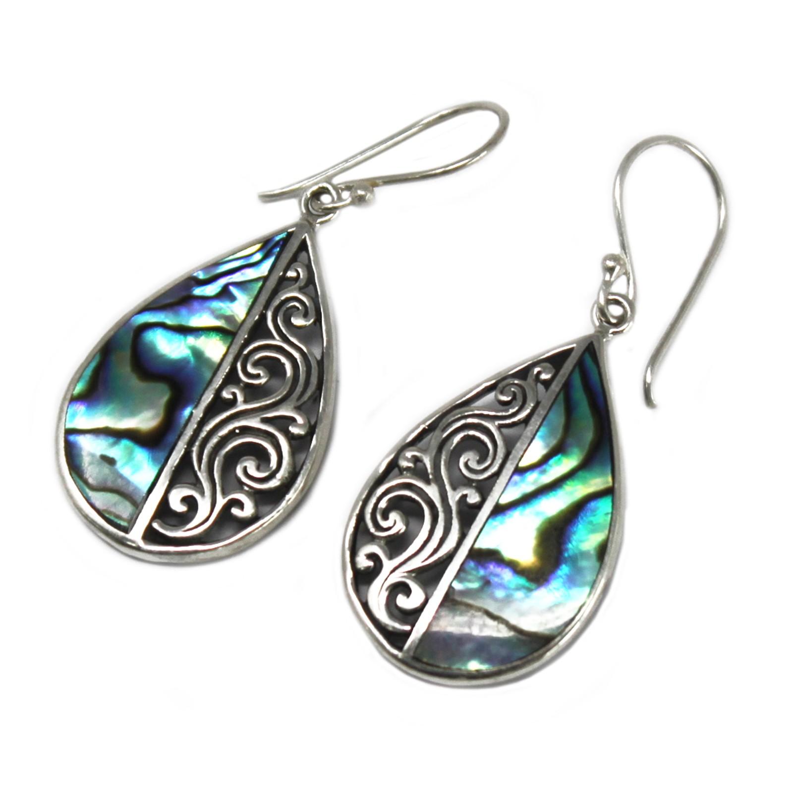 Shell   Silver Earrings TeardropAbalone