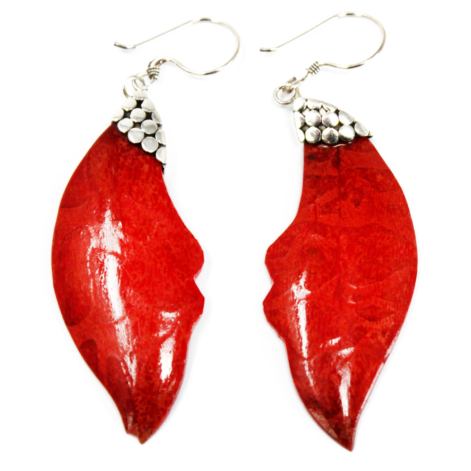 Coral Style Silver Earrings Leaf Drop