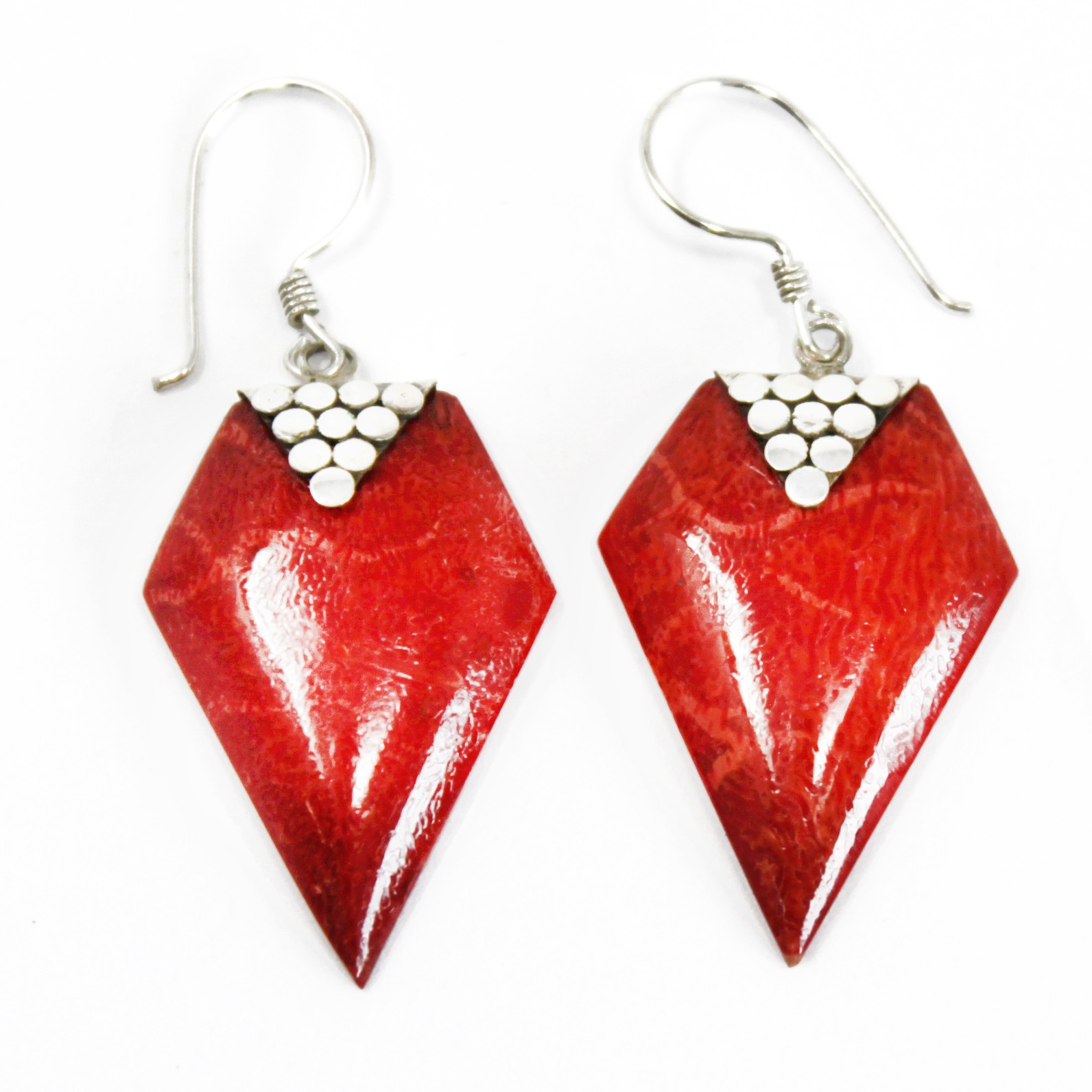 Coral Style Silver Earrings Grapes