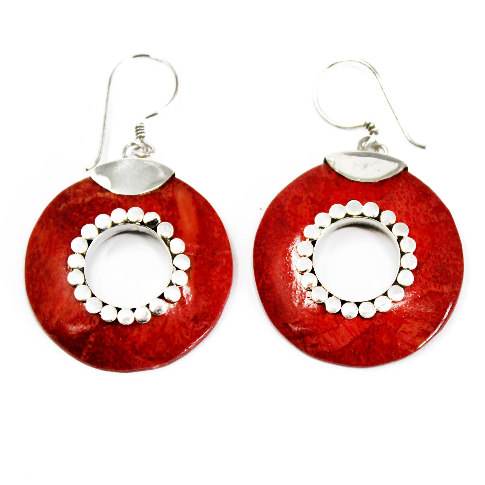 Coral Style Silver Earrings Donuts