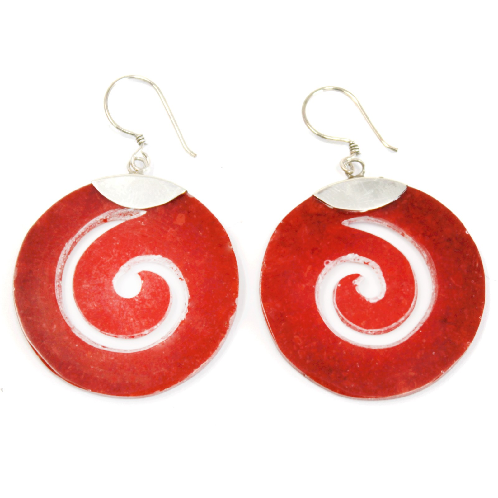 Coral Style Silver Earrings Scroll Design