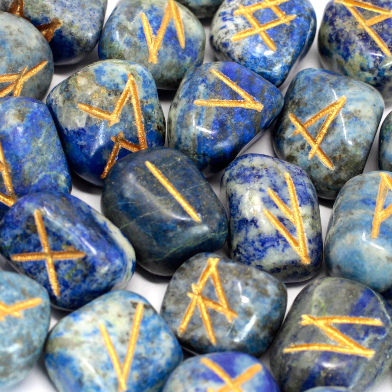 Runes Stone Set in Pouch Lapis