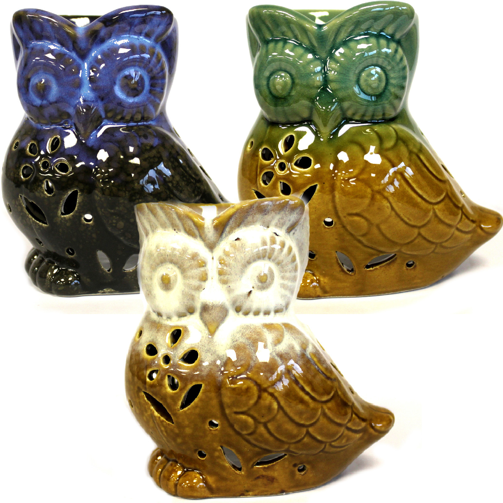 Classic Rustic Oil Burner Owl assorted
