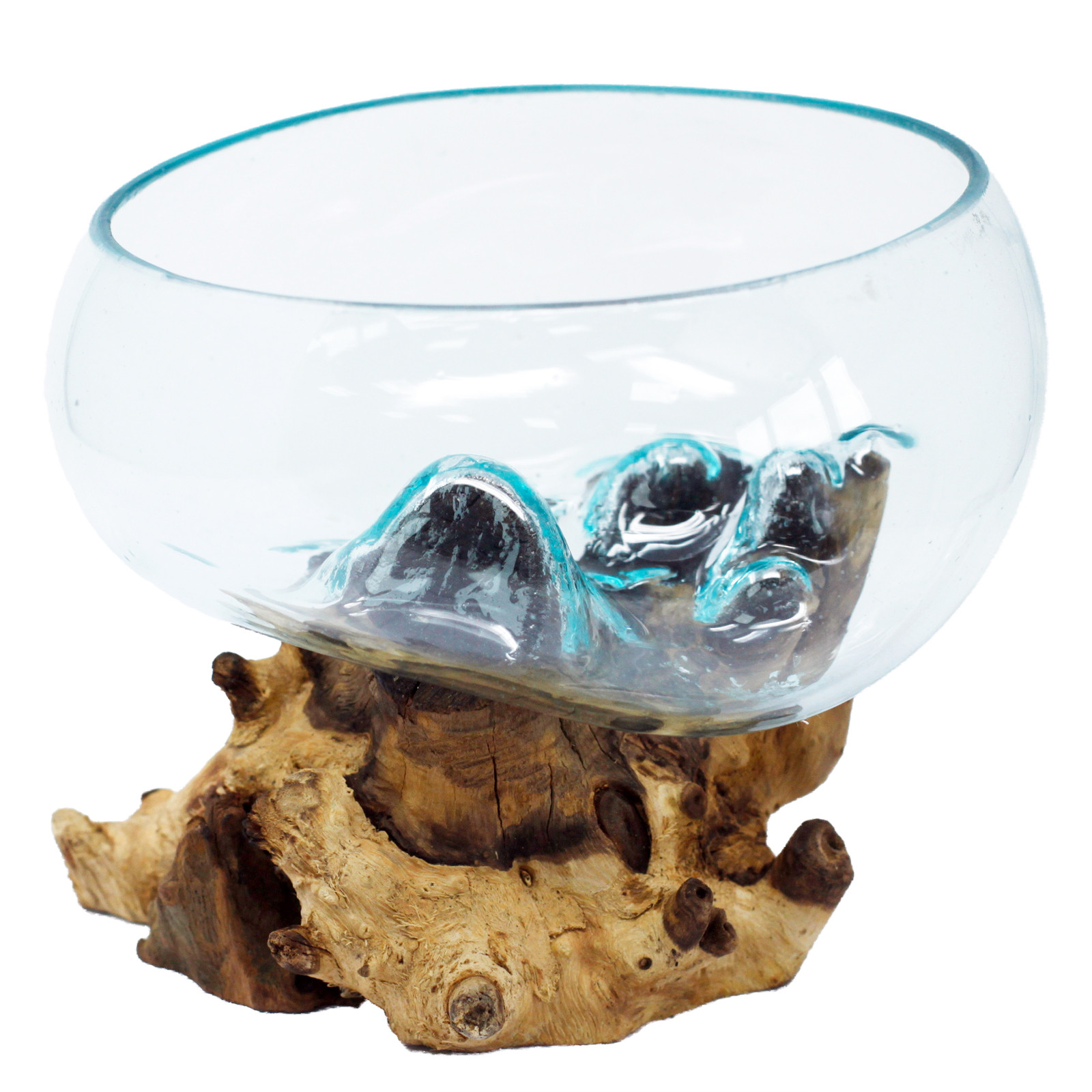 Molten Glass on Wood Open Lrg Bowl