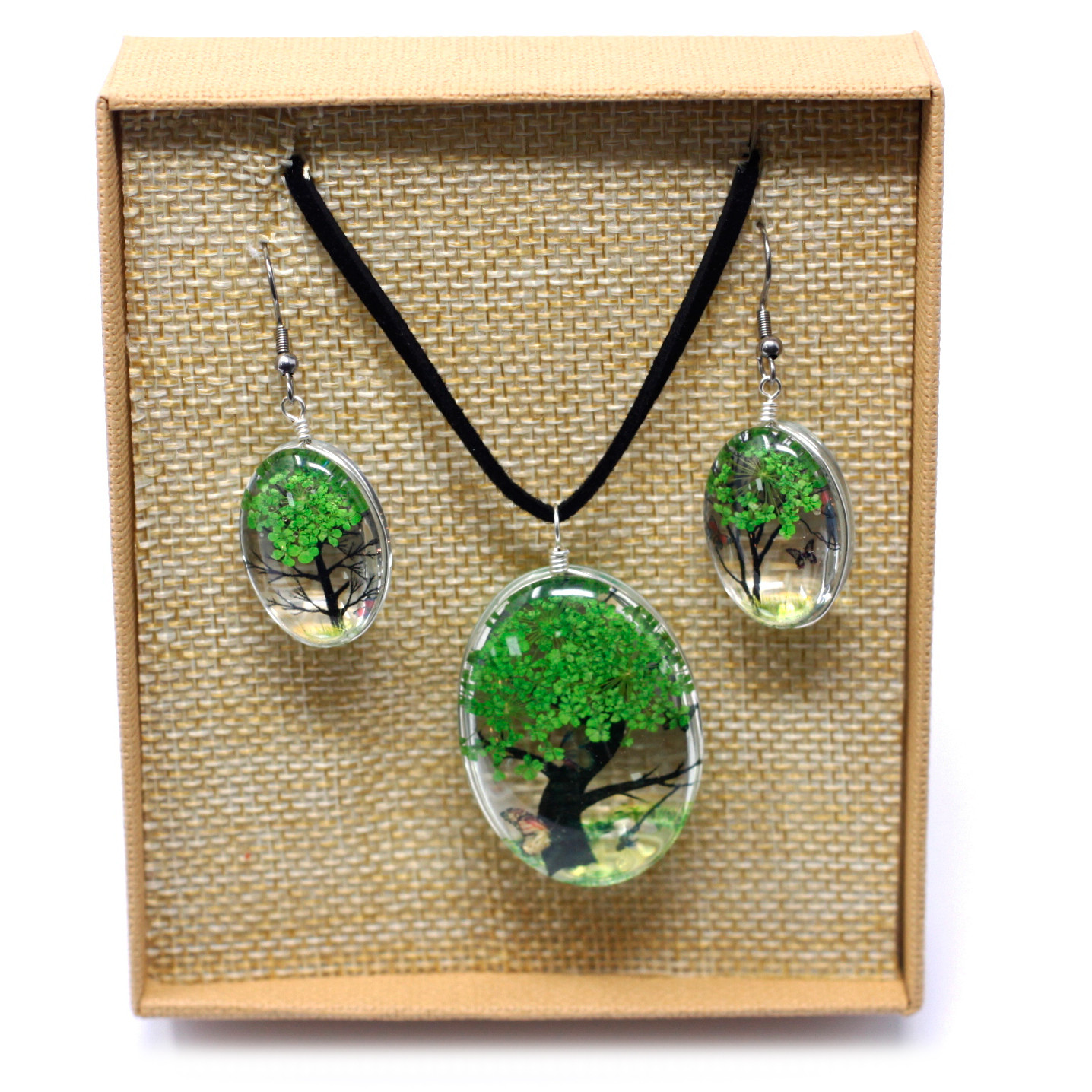 Pressed Flowers Tree of Life set Green