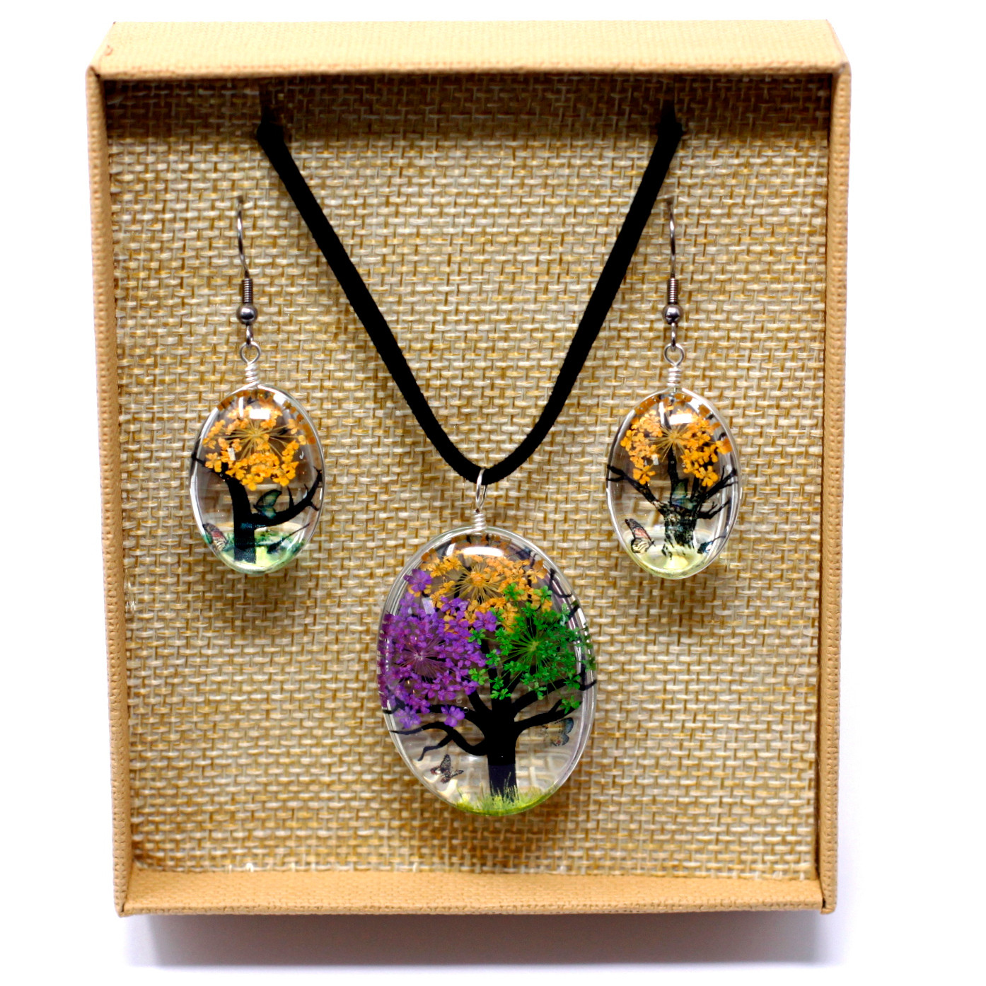 Pressed Flowers Tree of Life set Mixed Colours