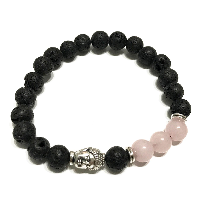 Lava Stone Bracelet Buddha Rose Quartz