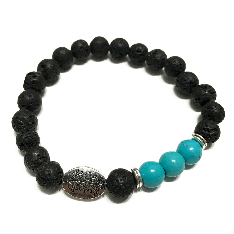 Lava Stone Bracelet Leaf Turquoise