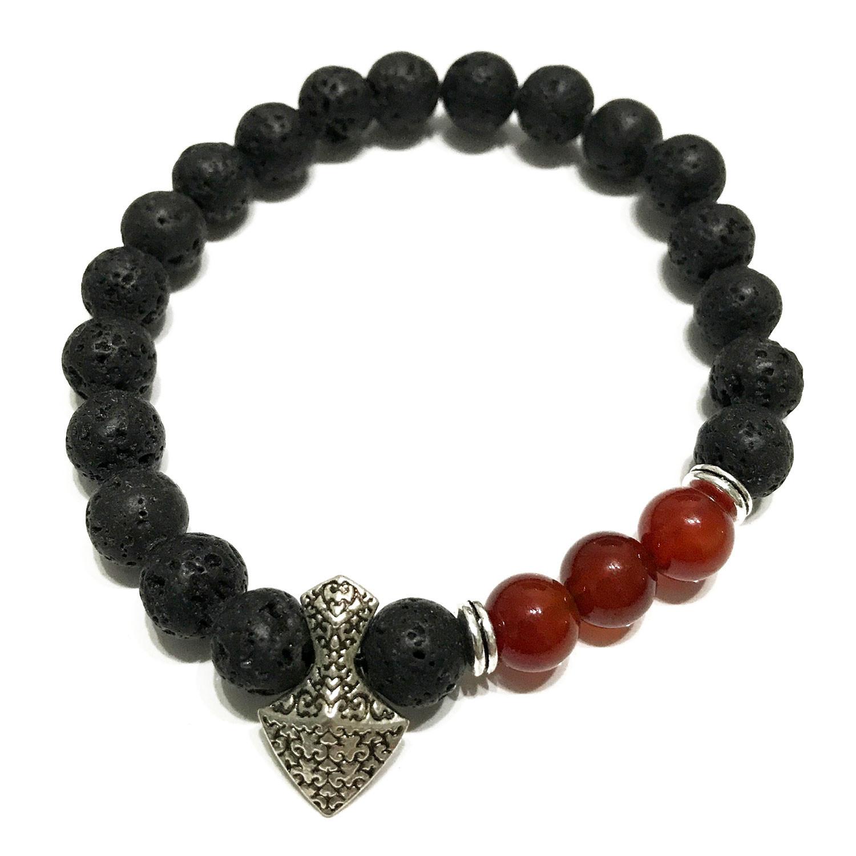 Lava Stone Bracelet Axehead Carnelian