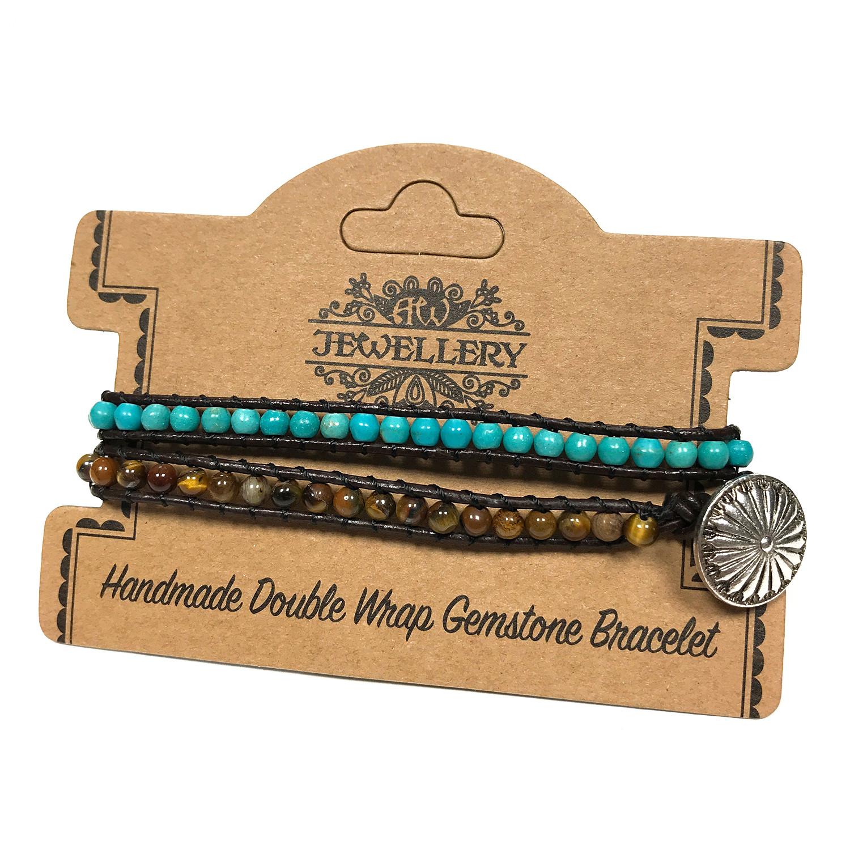 Double Wrap Bracelet 5050 Turquoise  Tiger Eye