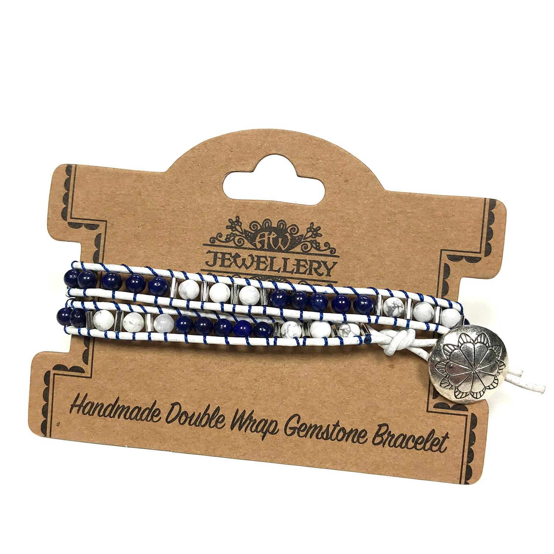 Double Wrap Bracelet Navy Style with Lapis