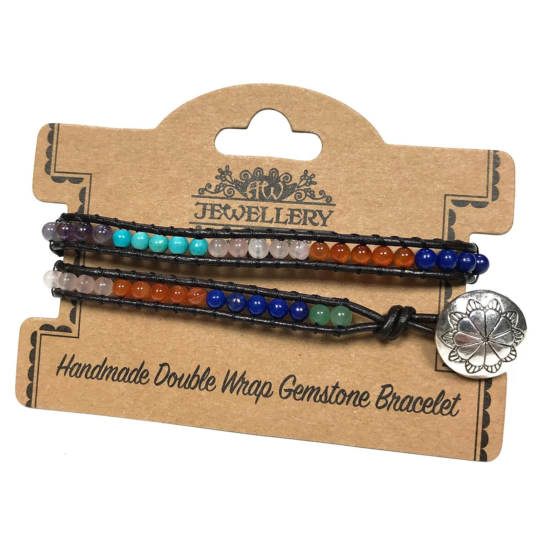 Double Wrap Bracelet Multi Stone Chakra