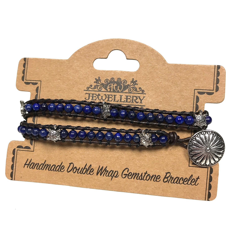 Double Wrap Bracelet Turtles with Lapis