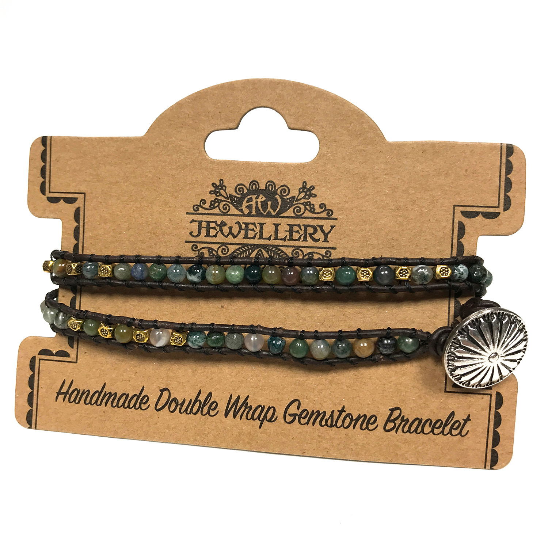 Double Wrap Bracelet Multi Moss Agate