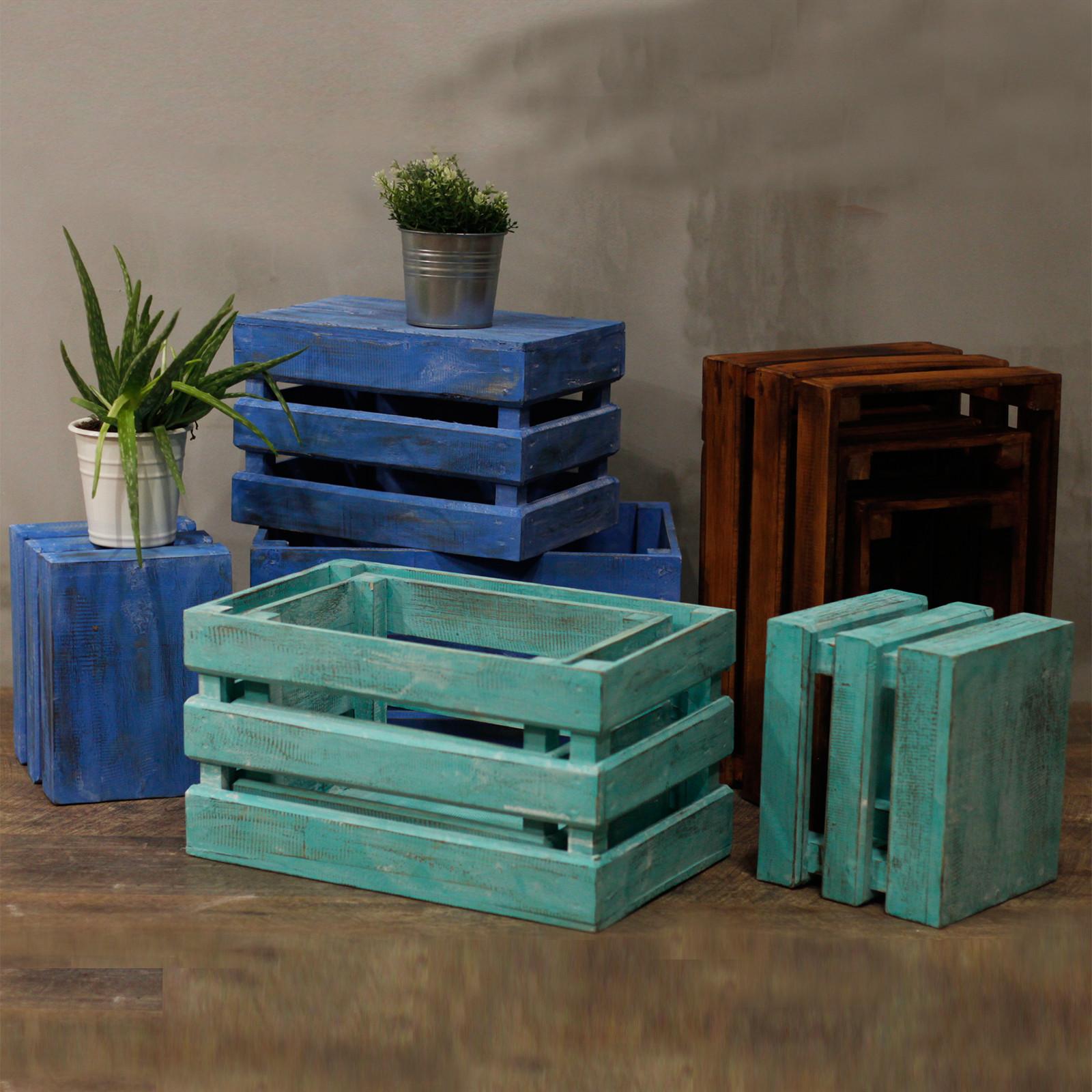 Fruit Box set of 3 Bluewash