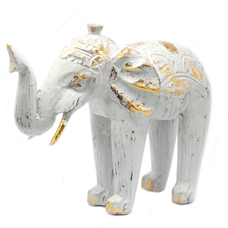 Wood Carved Elephant White Gold