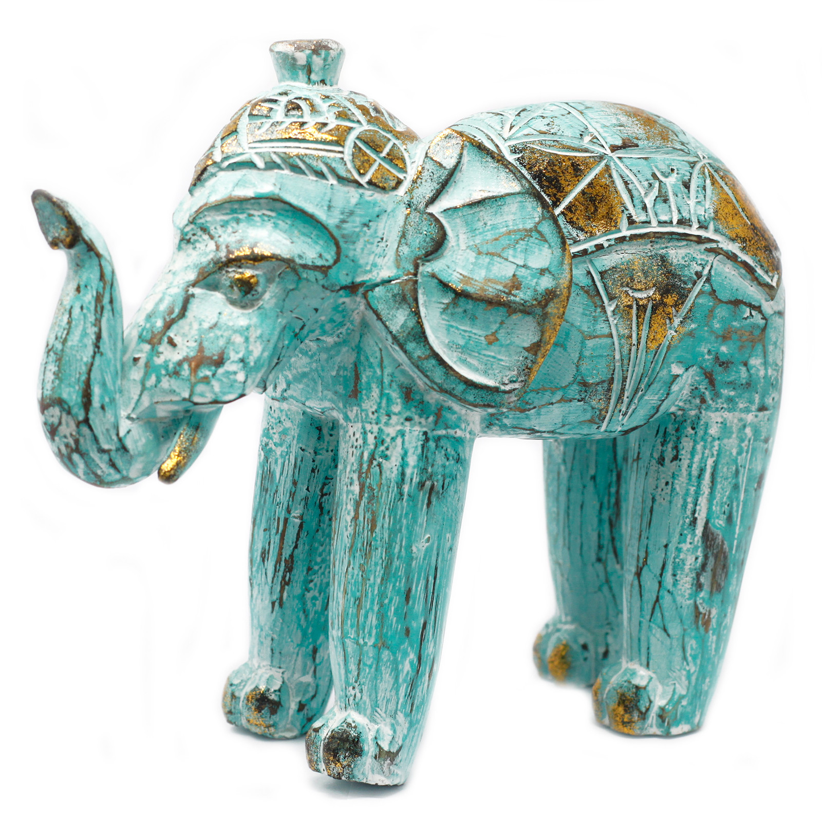 Wood Carved Elephant Turquois Gold
