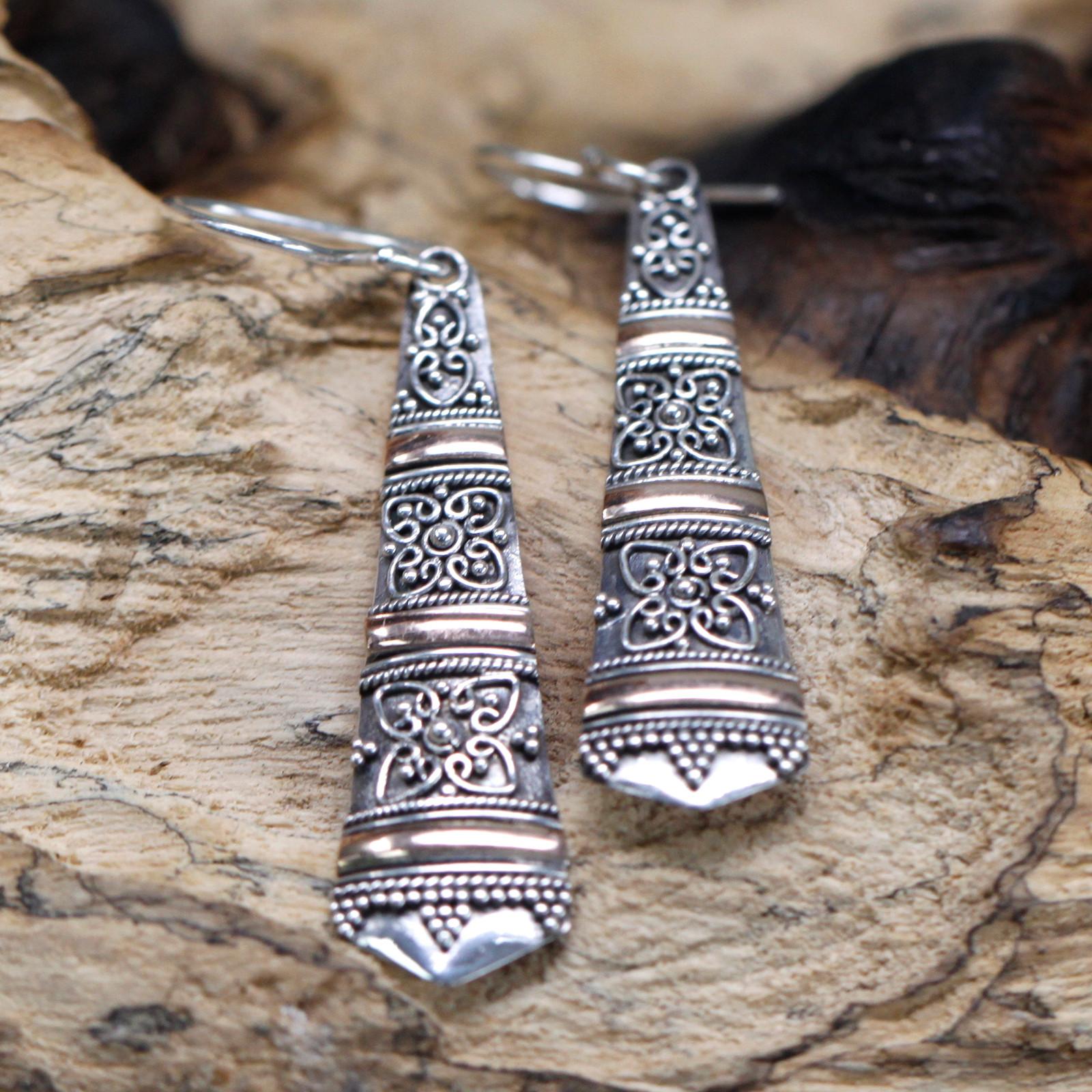 Silver   Gold Earring Tribal Drops
